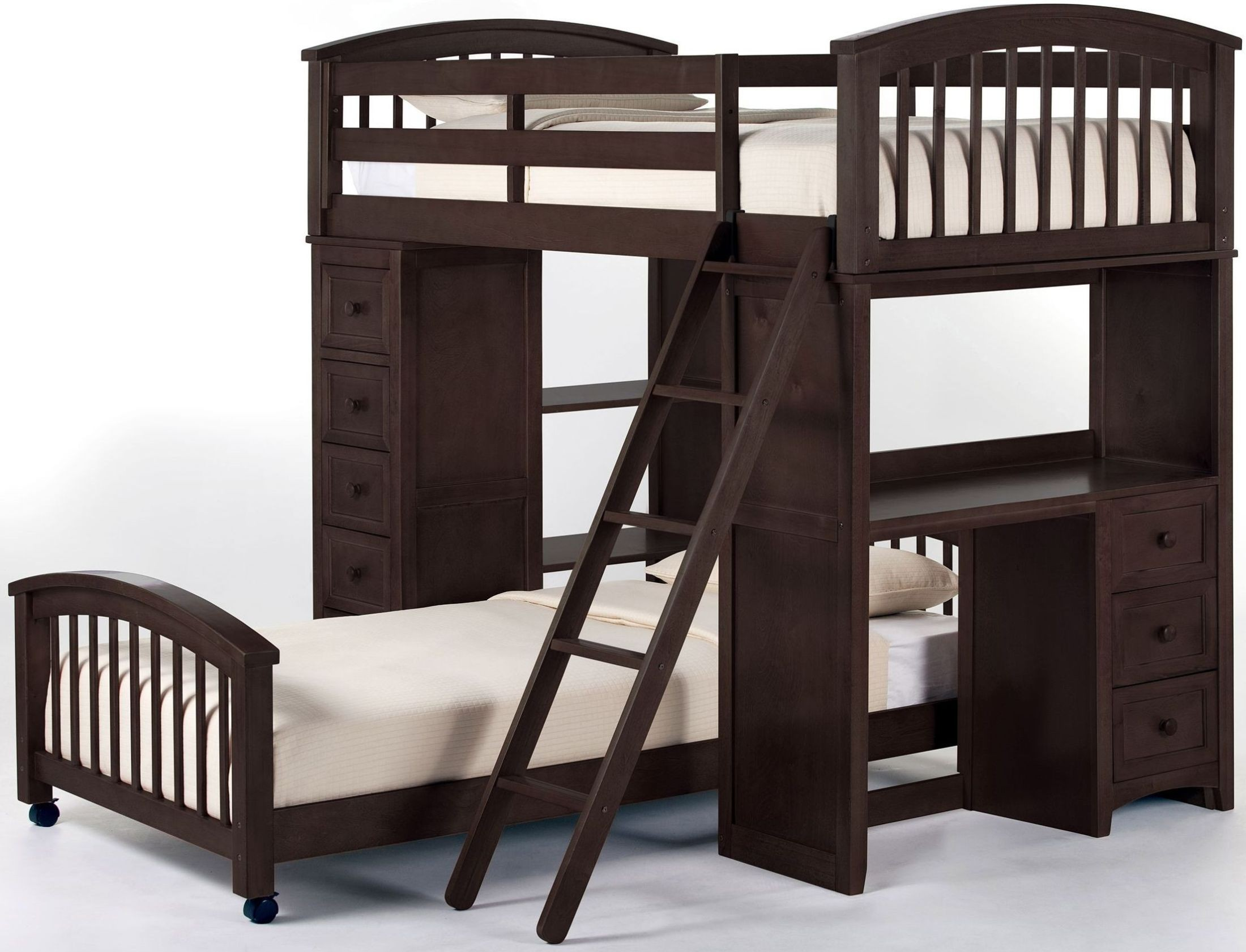 School house chocolate twin loft bed with lower bed for Loft net bed