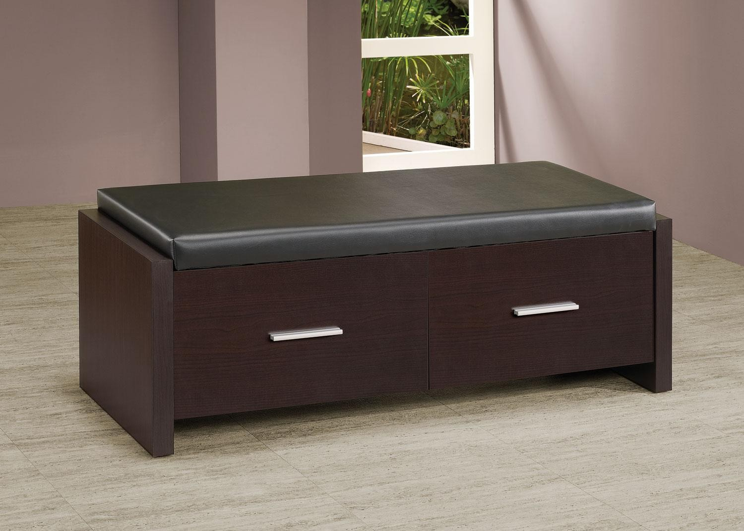 2 Drawer Storage Bench With Padded Seat 508002 Coaster Furniture