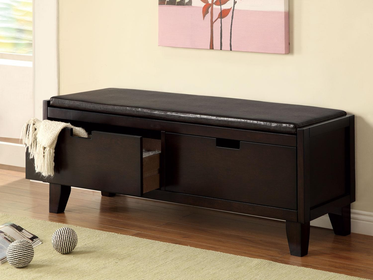 Dark Walnut Storage Bench With 2 Drawers From Coaster 508005 Coleman Furniture