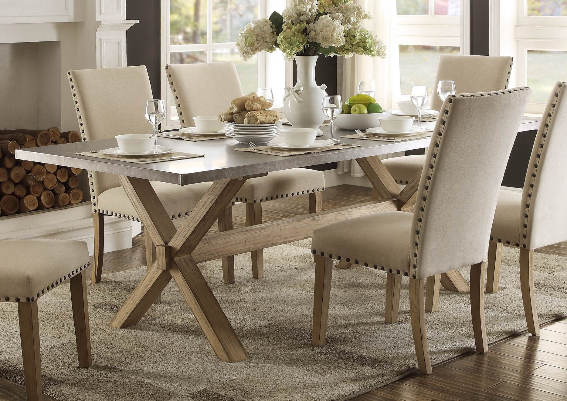 Luella Cool Weathered Oak Zinc Top Dining Table From