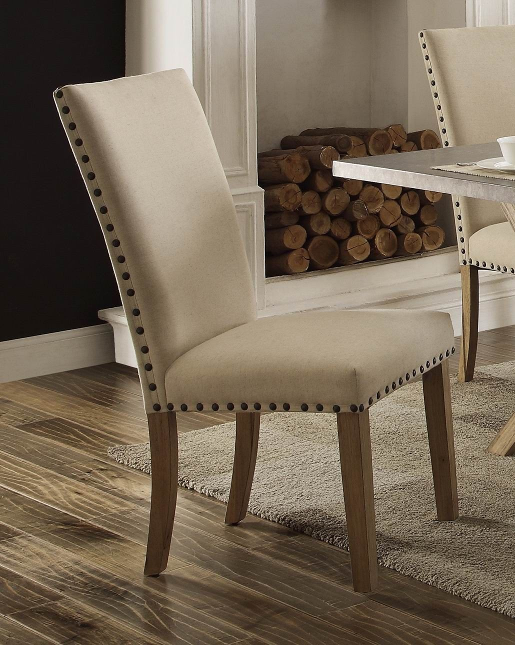 Luella cool weathered oak zinc top dining room set from