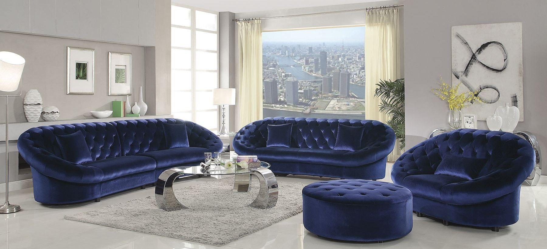 romanus royal blue velvet living room set 511042 coaster