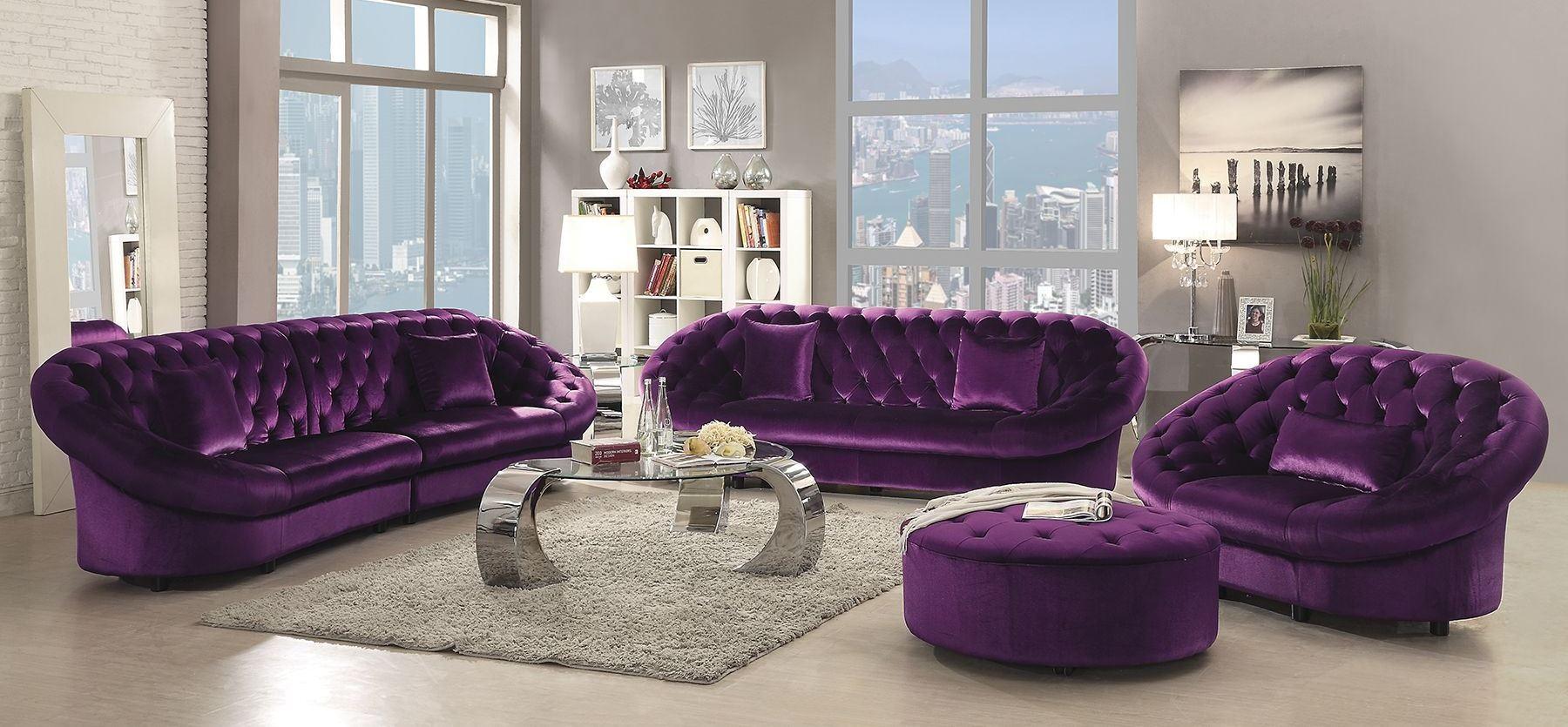 Romanus Purple Velvet Living Room Set 511046 Coaster Furniture
