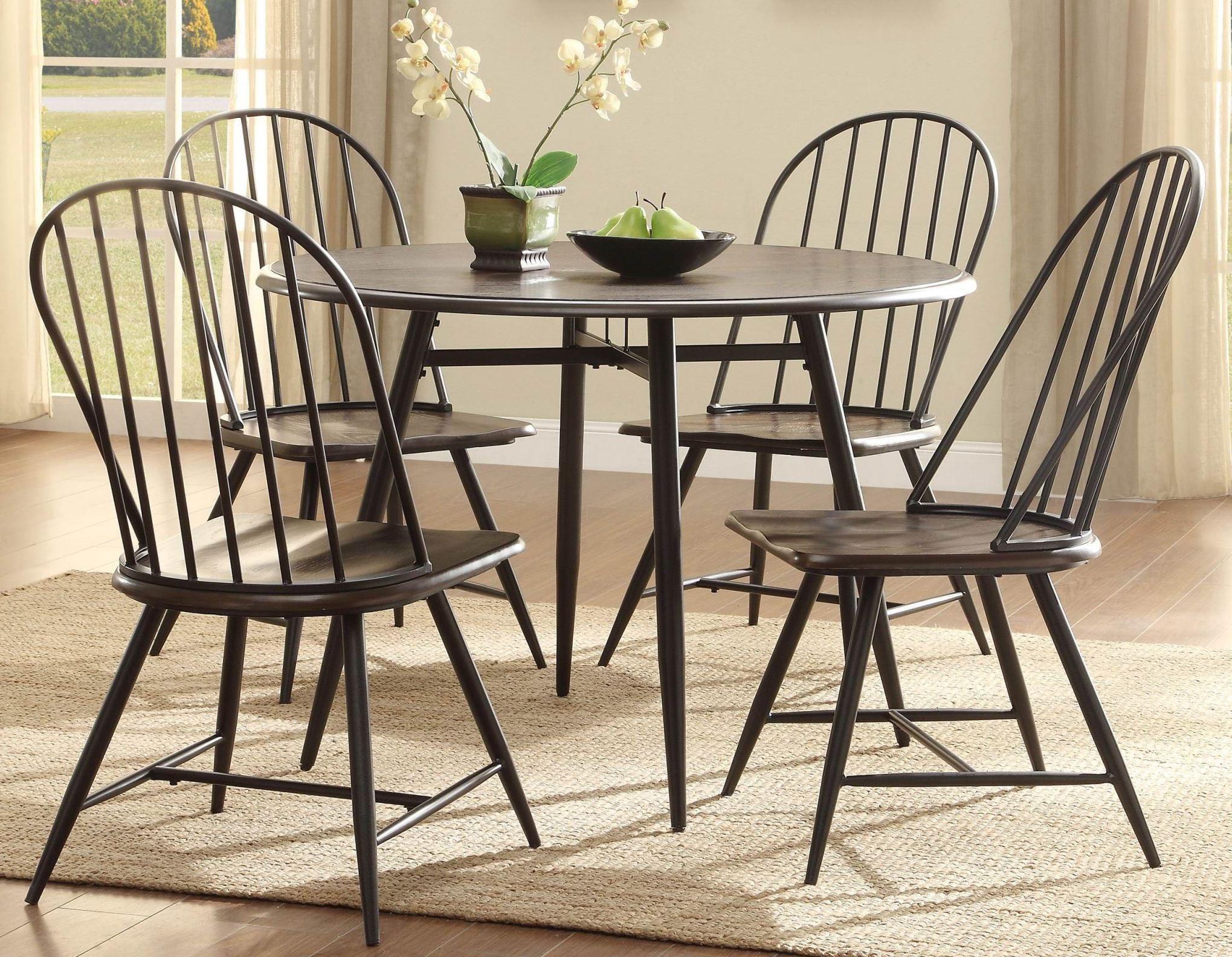 hesperia dark brown round dining room set from homelegance 5118 42