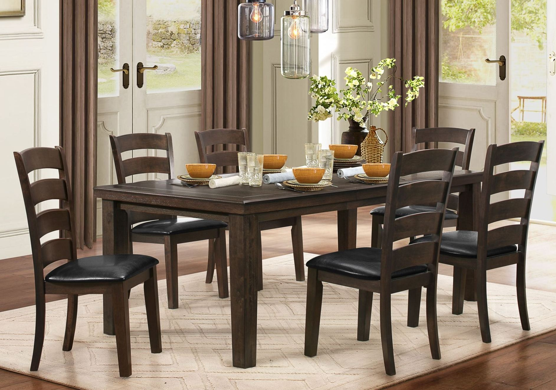 Pacific grove brown extendable dining room set from for Brown dining room set