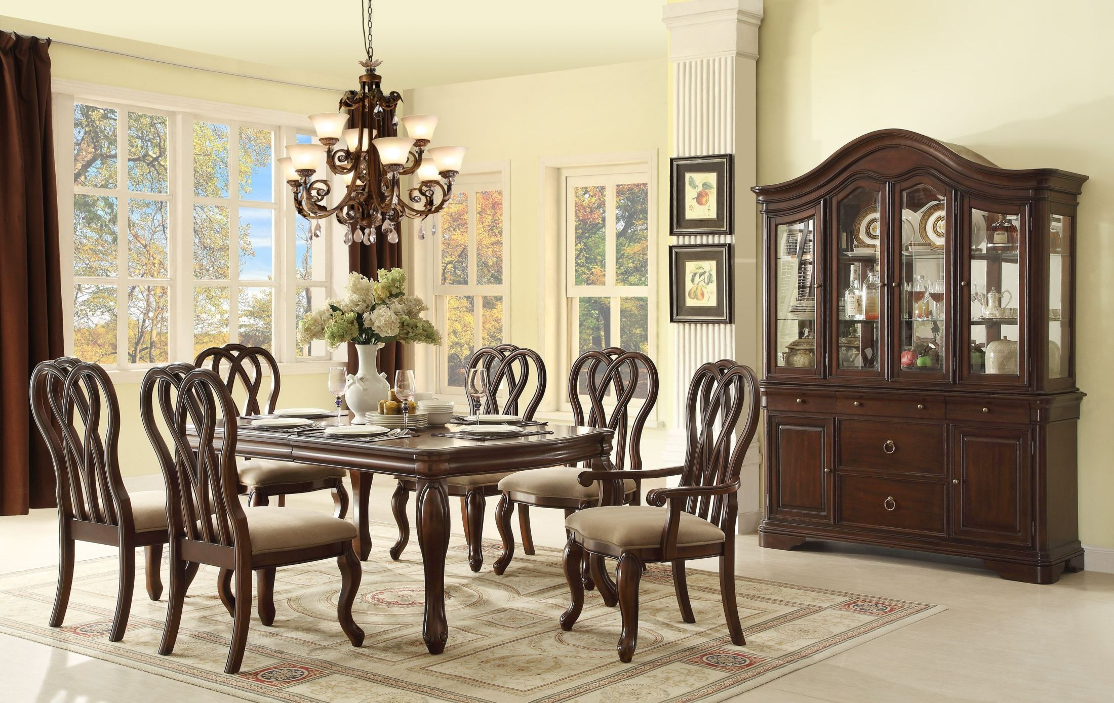 San Anselmo Cherry Extendable Dining Room Set 5146 96 Homelegance
