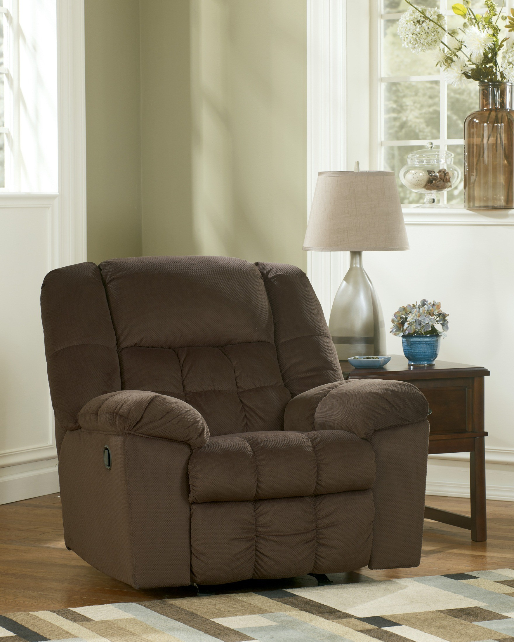 Ashley furniture lowell chocolate rocker recliner for Ashley chaise lounge recliner
