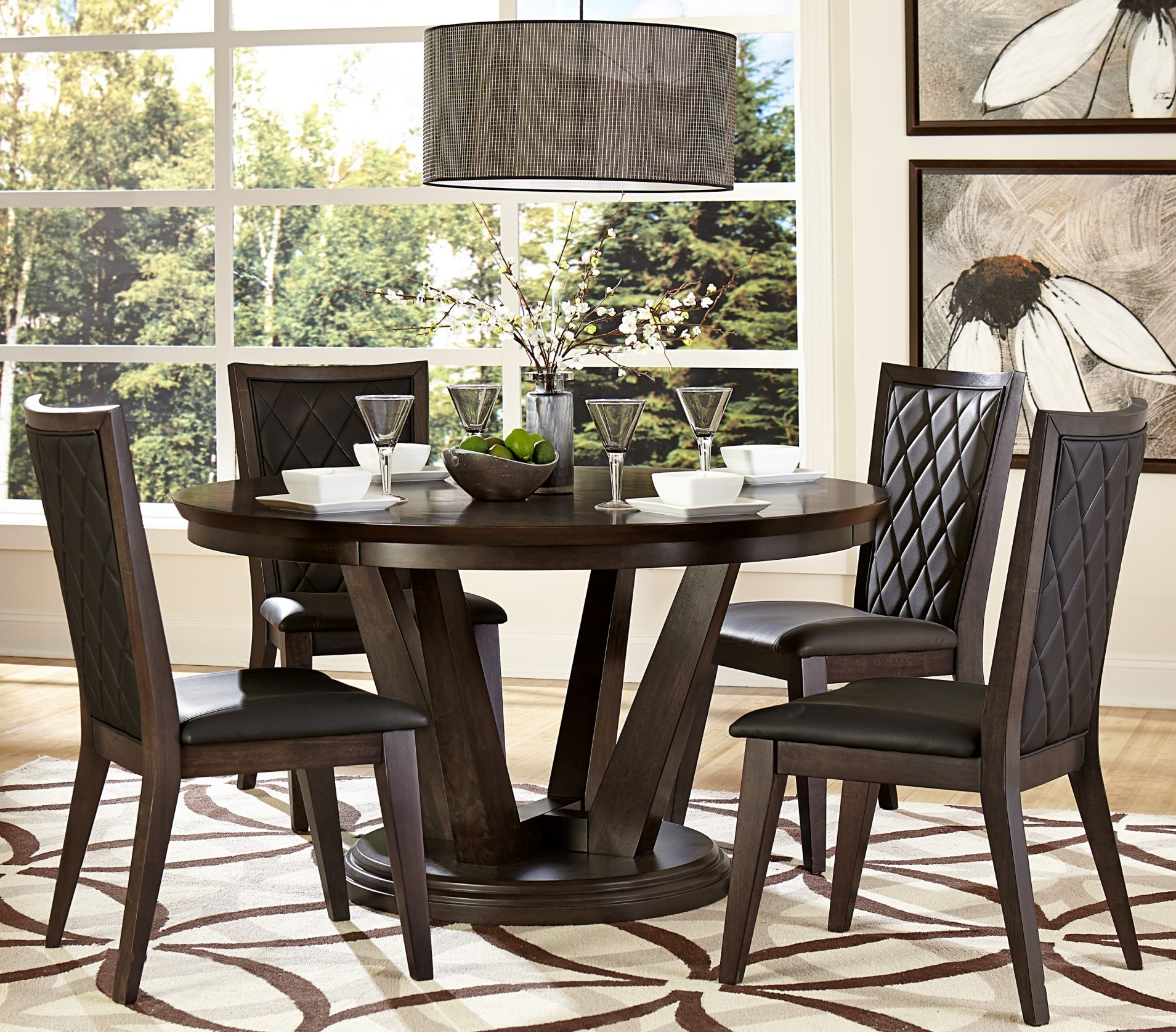 villa vista dark walnut round dining room set from homelegance 5157