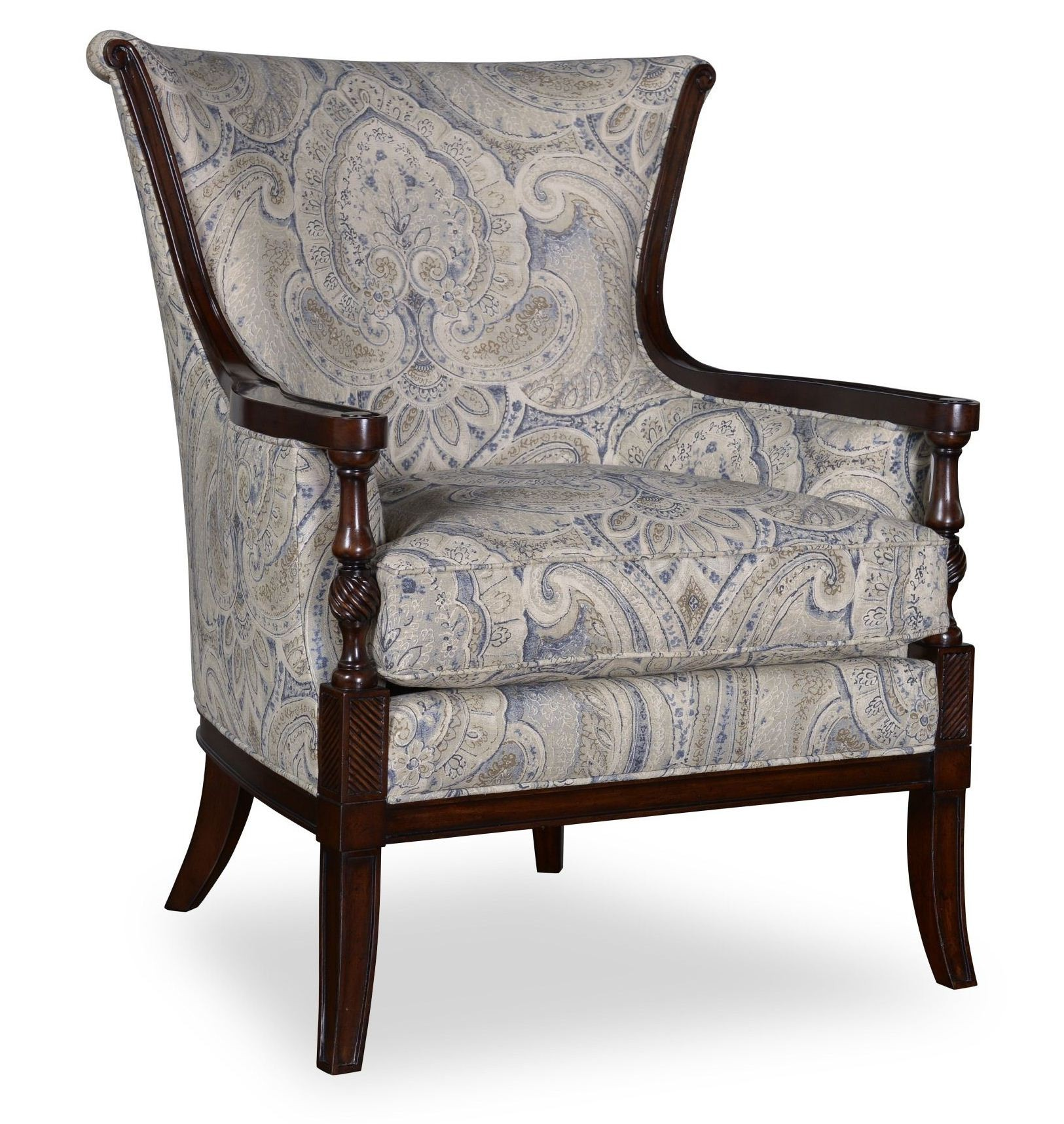 Bristol Linen Carved Wood Accent Chair from ART