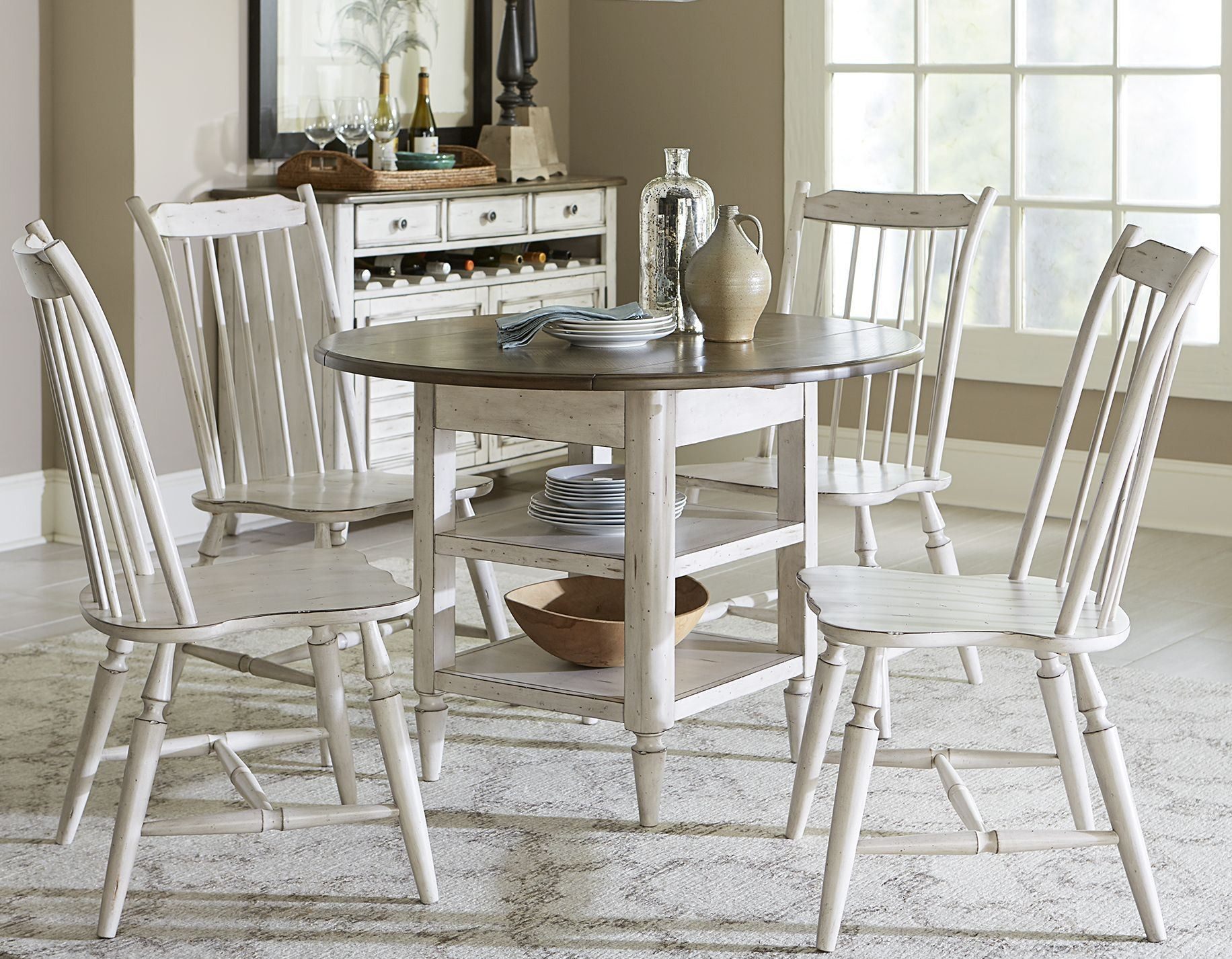 Oak hill tan smoke antique white extendable drop leaf for White dining table with leaf