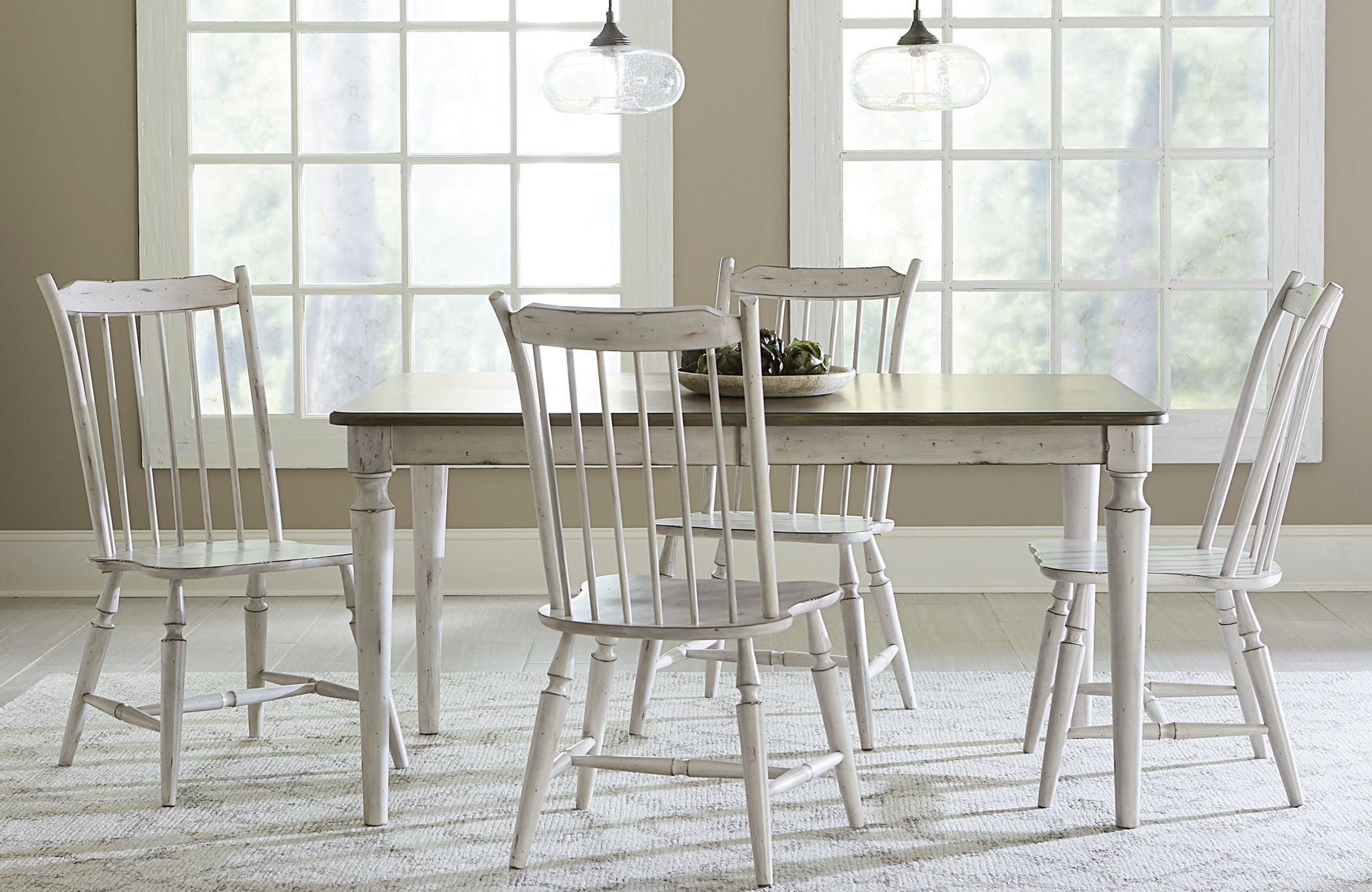 smoke antique white extendable dining room set 517 t4078 liberty