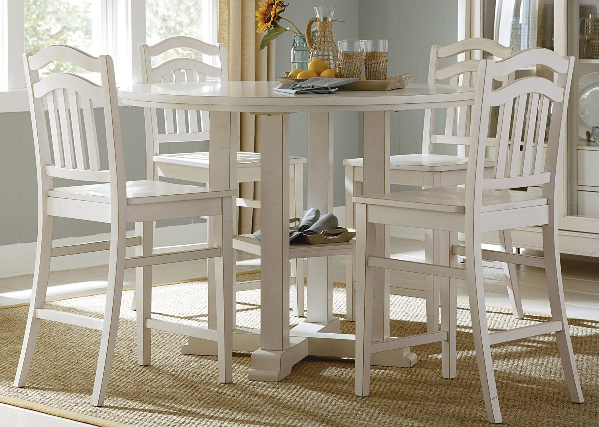 Linen White Counter Height Gathering Dining Table 518 GT4848 Liberty
