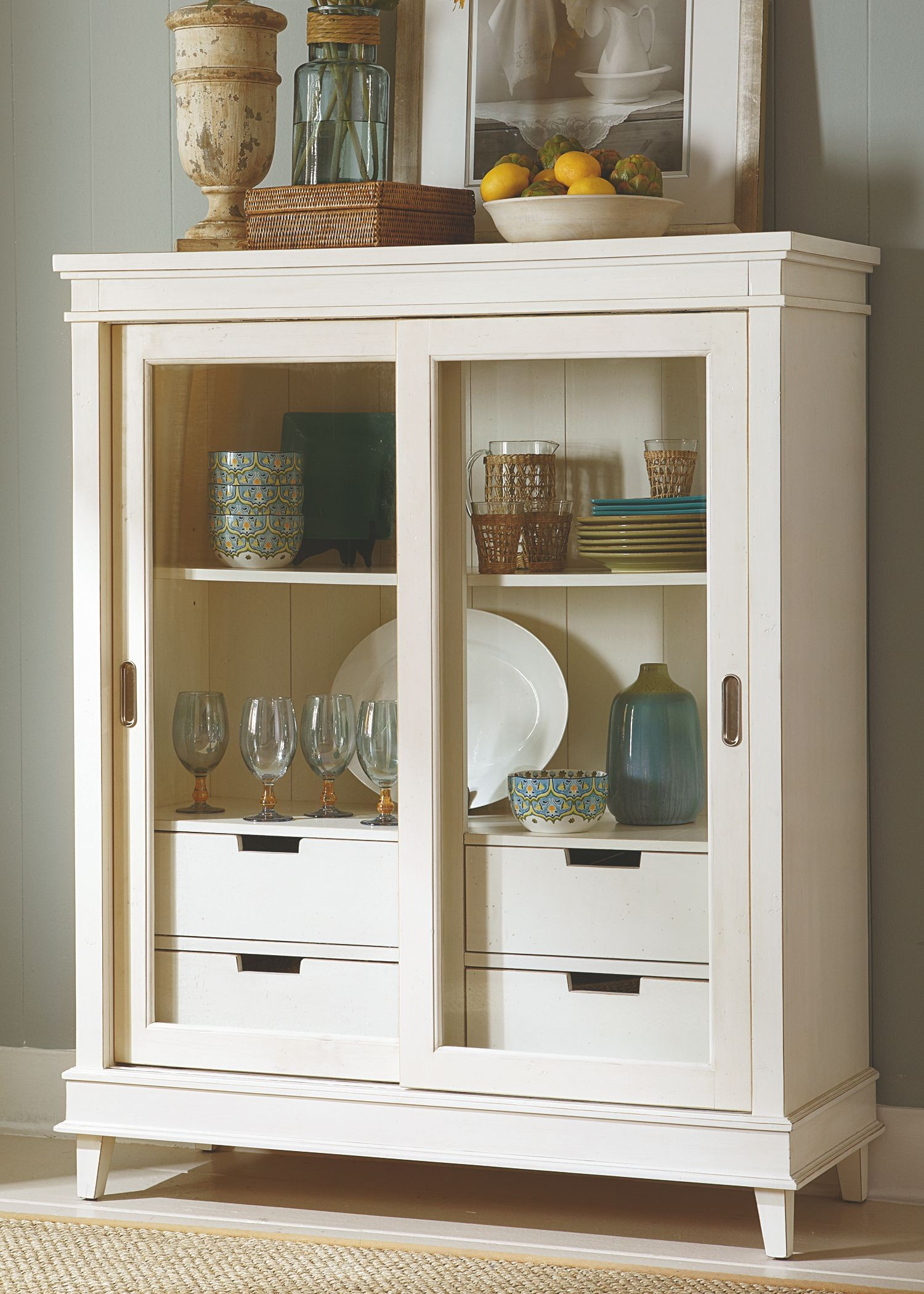 Summerhill Rubbed Linen White Display Cabinet 518 Ch4657
