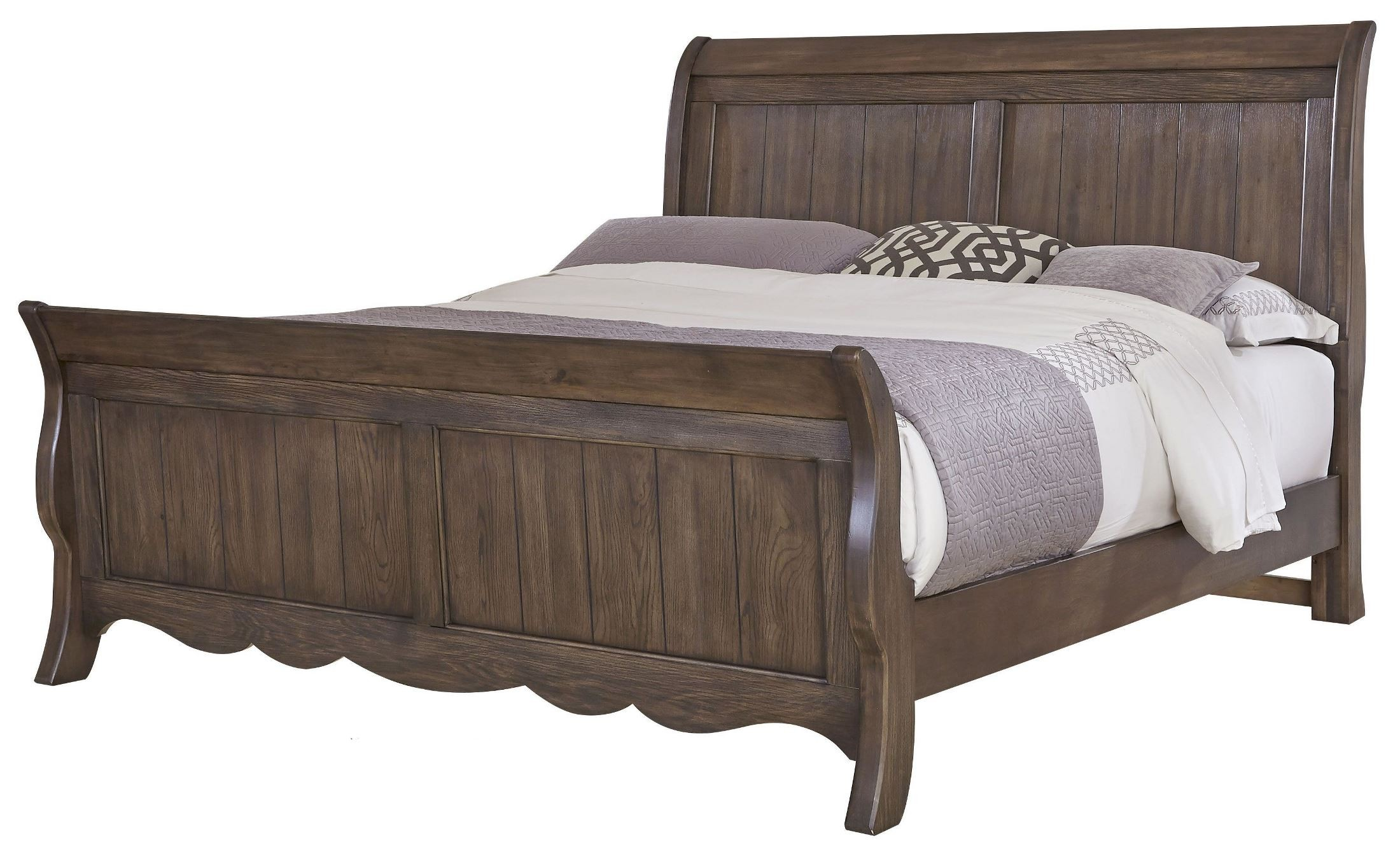 villa sophia dark roast king low profile sleigh bed 520 663 766 622 vaughan bassett. Black Bedroom Furniture Sets. Home Design Ideas