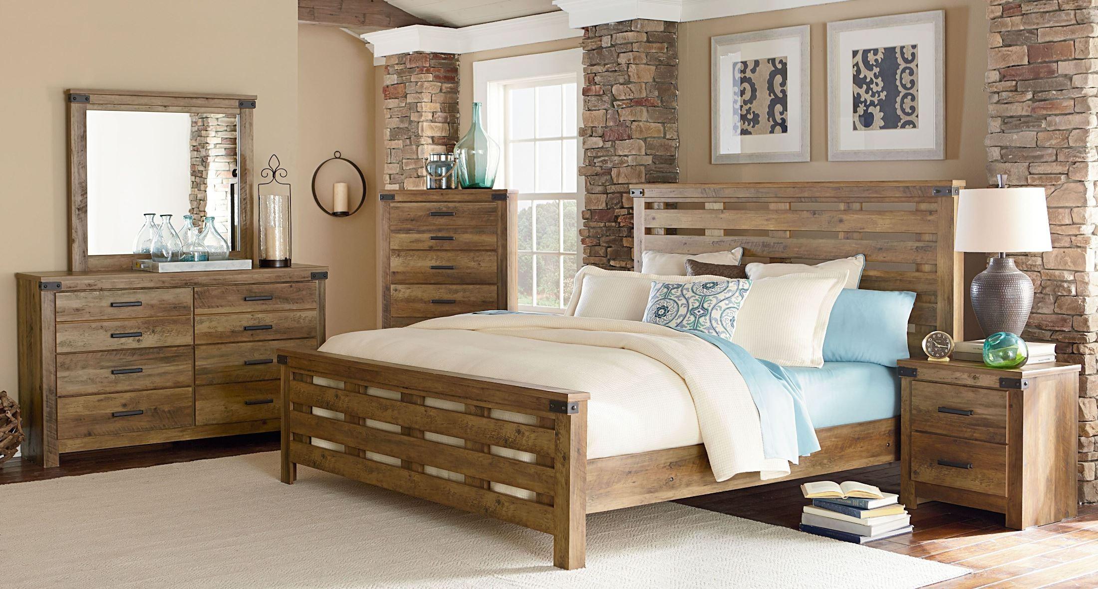 Montana Rustic Buckskin Queen Panel Bed 524 52 62 80 Standard Furniture