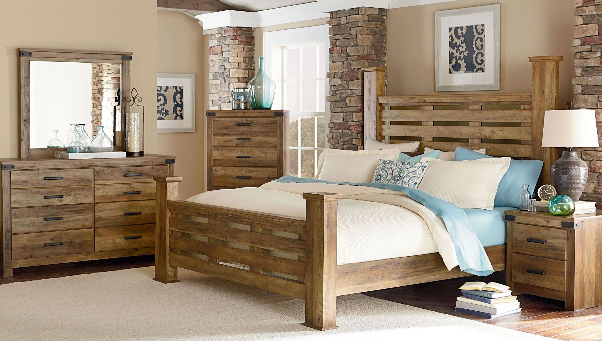 Montana Rustic Buckskin Poster Bedroom Set 524 51 80 61 2052451 Standard Furniture