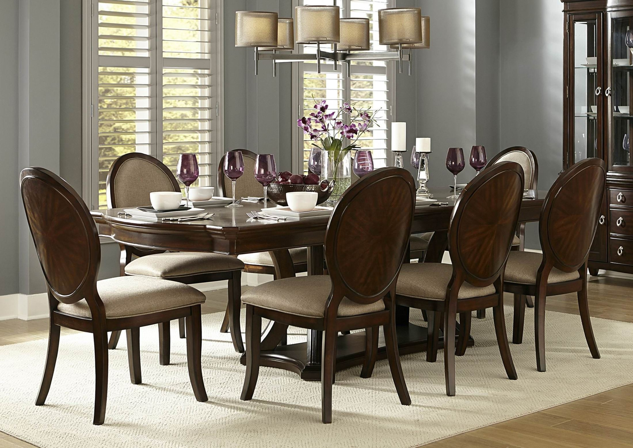Delavan rich brown cherry extendable dining room set from for Cherry dining room set