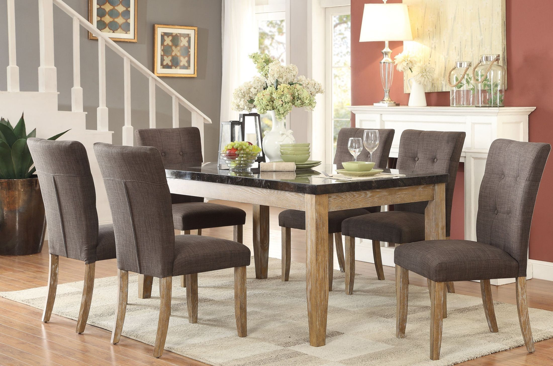 huron gray dining room set 5285 64 homelegance