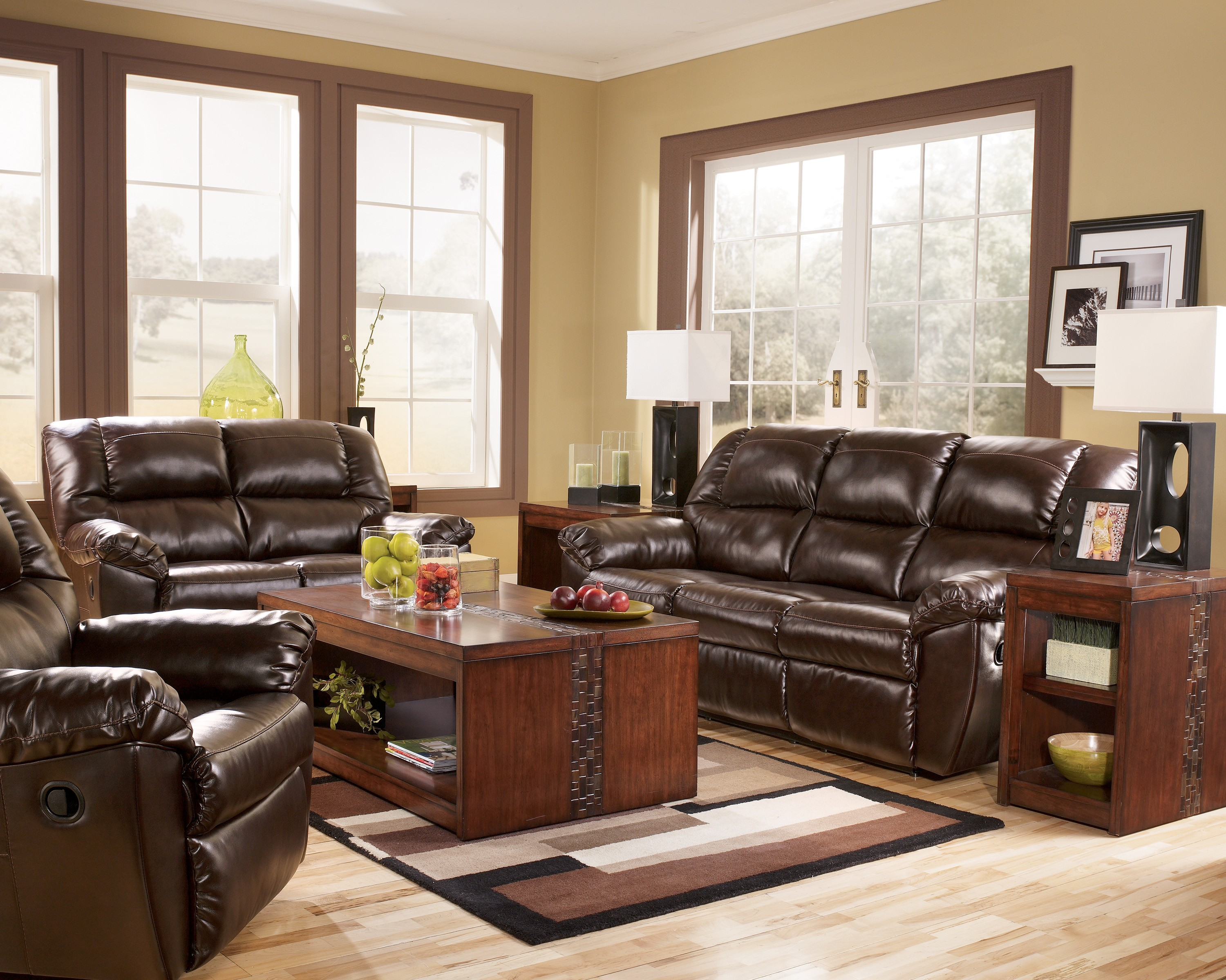Rouge durablend mahogany power reclining living room set for Cheap reclining living room sets