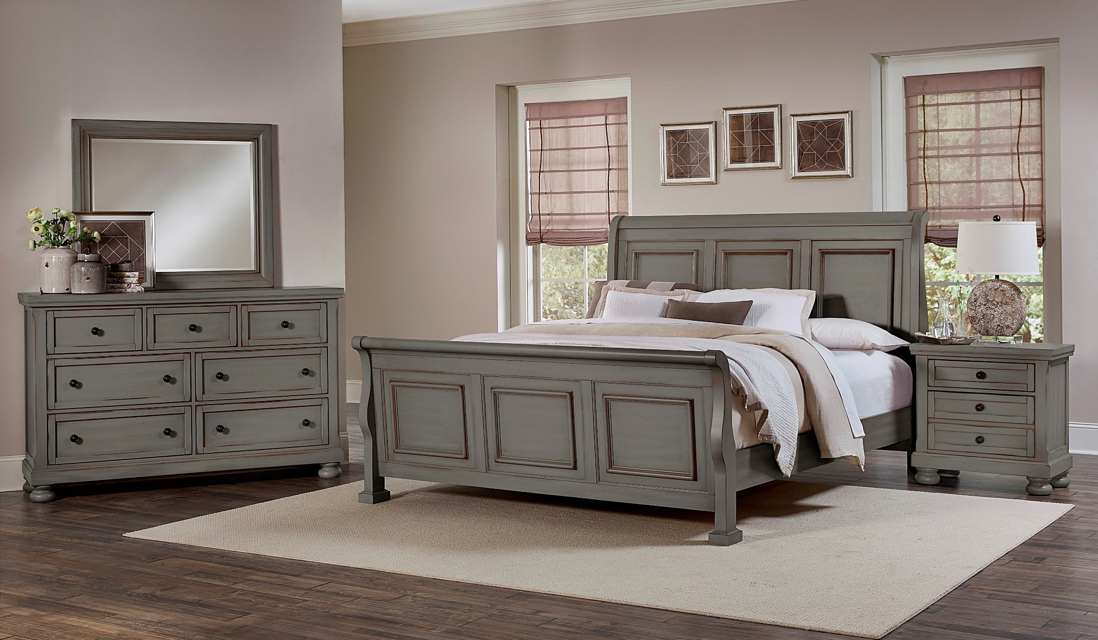 Reflections antique pewter sleigh bedroom set 531 553 355 722 vaughan bassett for Bedroom furniture washington dc