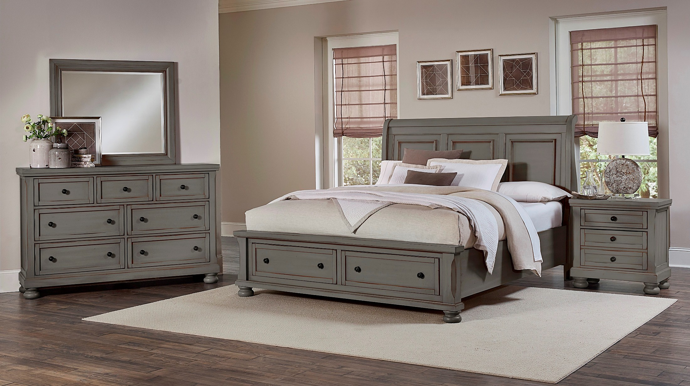 reflections antique pewter sleigh storage bedroom set 531