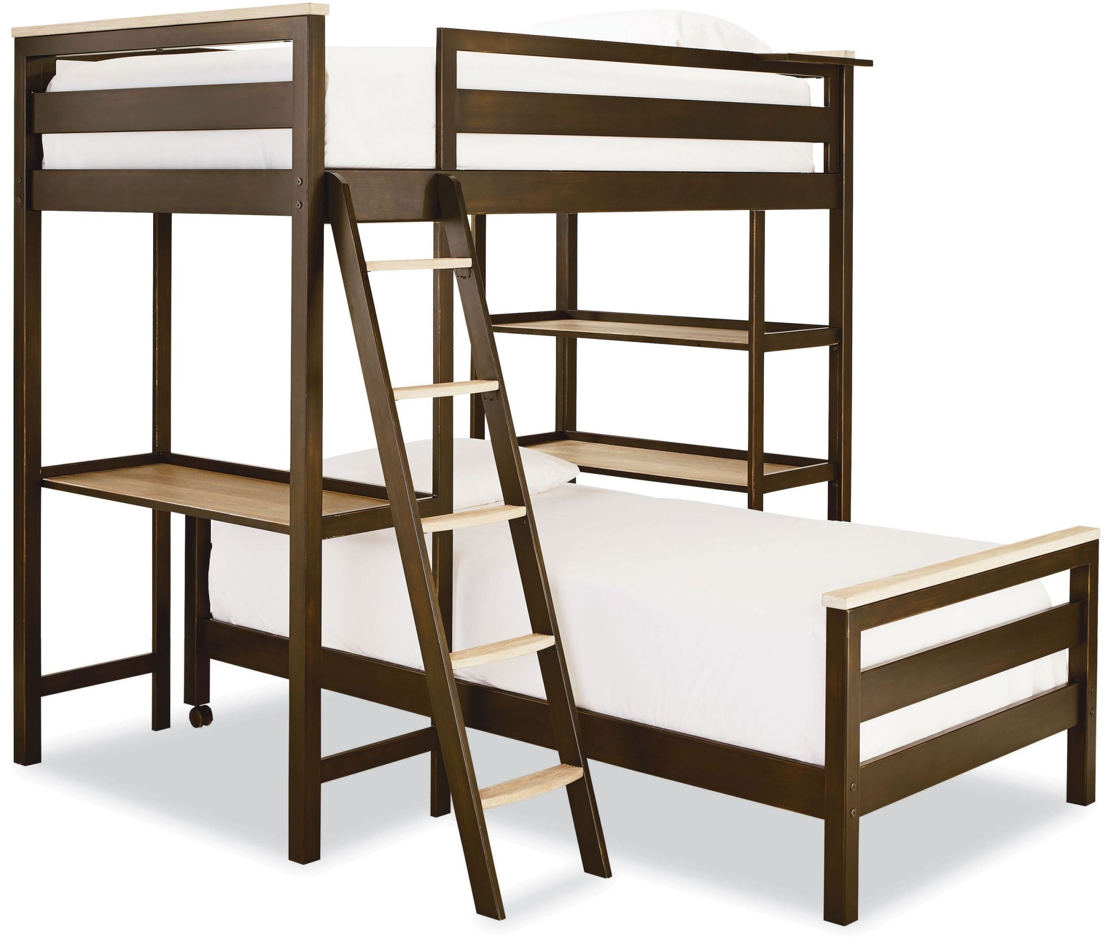 Myroom Parchment And Gray Twin Metal Loft Bunk Bed From