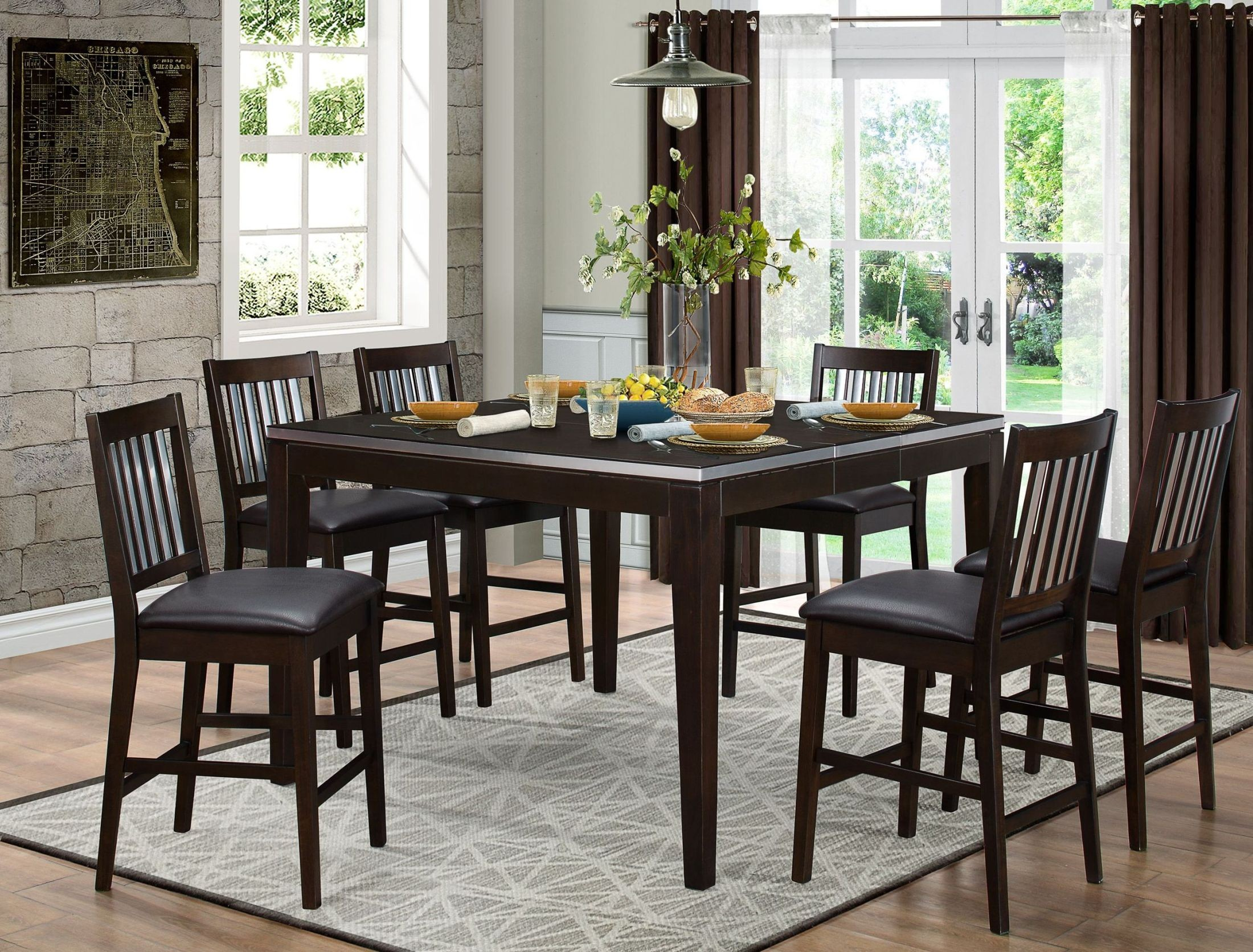 Pasco brown counter height dining room set 5401 36 for Brown dining room set