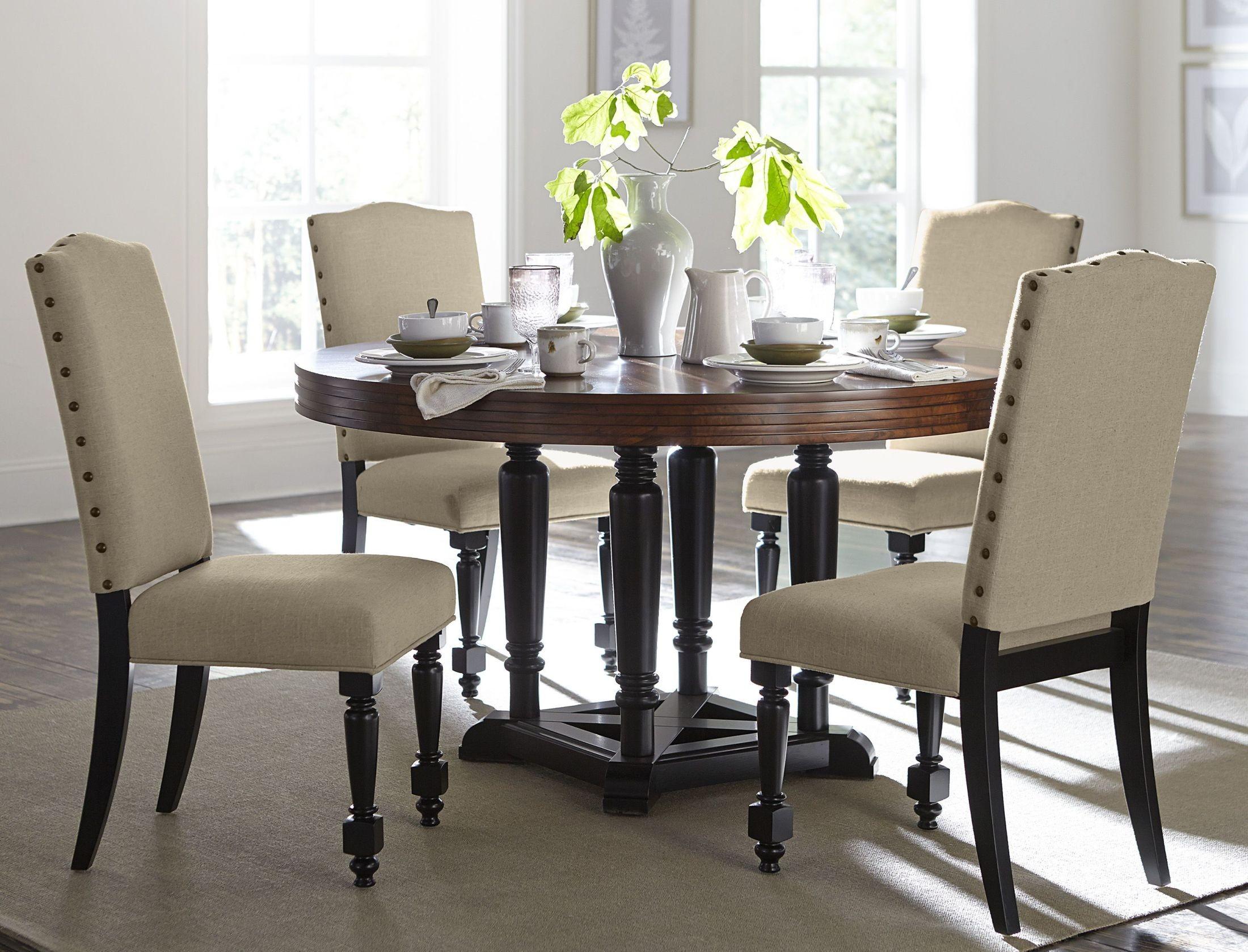blossomwood brown round dining room set 5404 54 homelegance