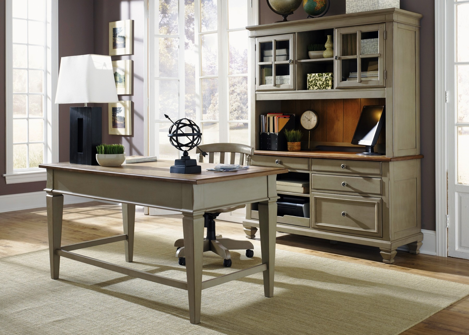 Bungalow taupe jr executive home office set from liberty 541 ho120 coleman furniture - Home office furniture set ...