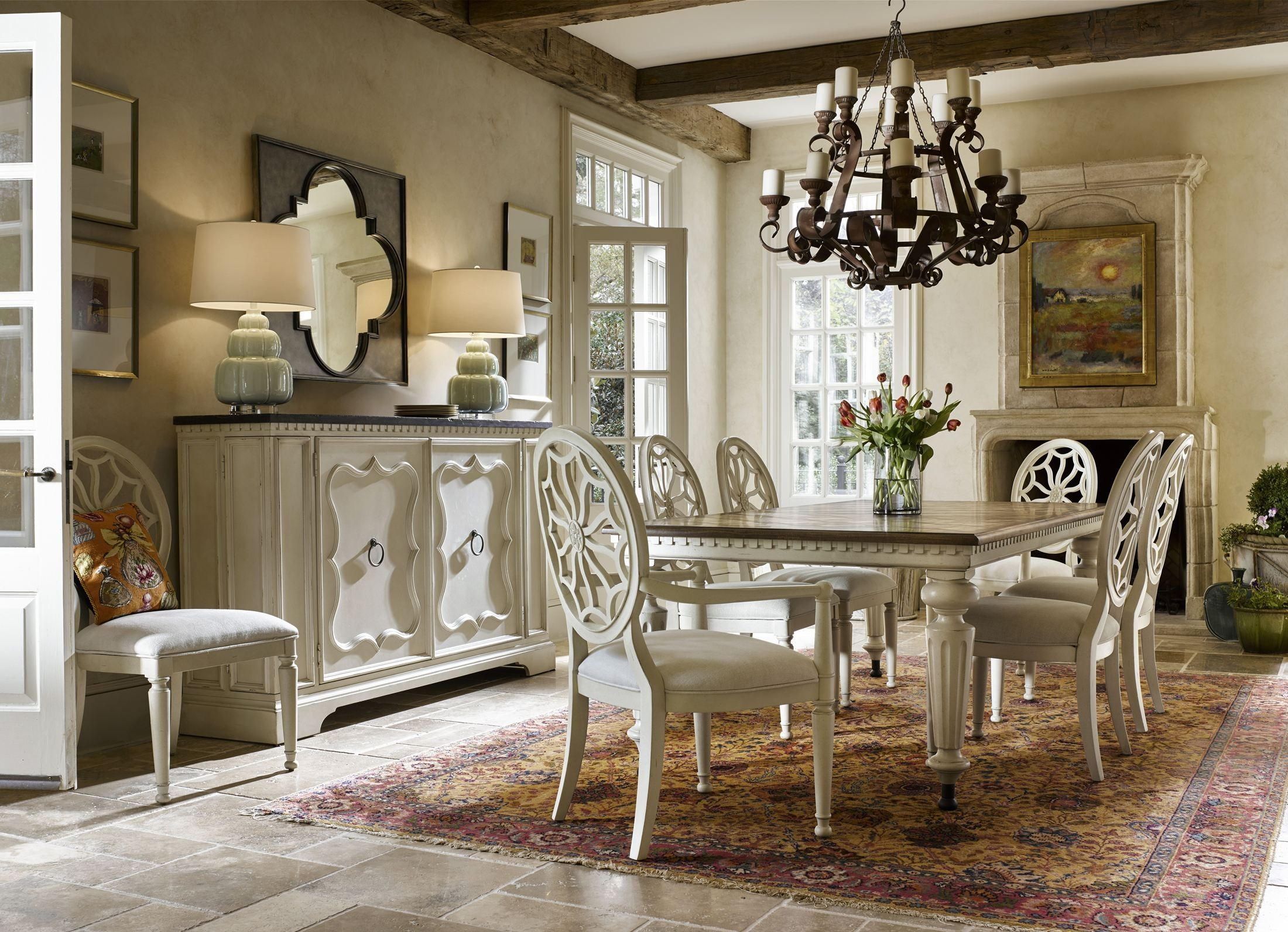 Sojourn Summer White Extendable Dining Room Set 543A653 Universal