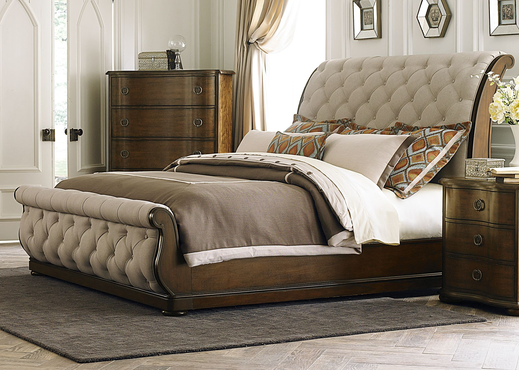Cotswold king upholstered sleigh bed from liberty 545 br - King size sleigh bed bedroom set ...