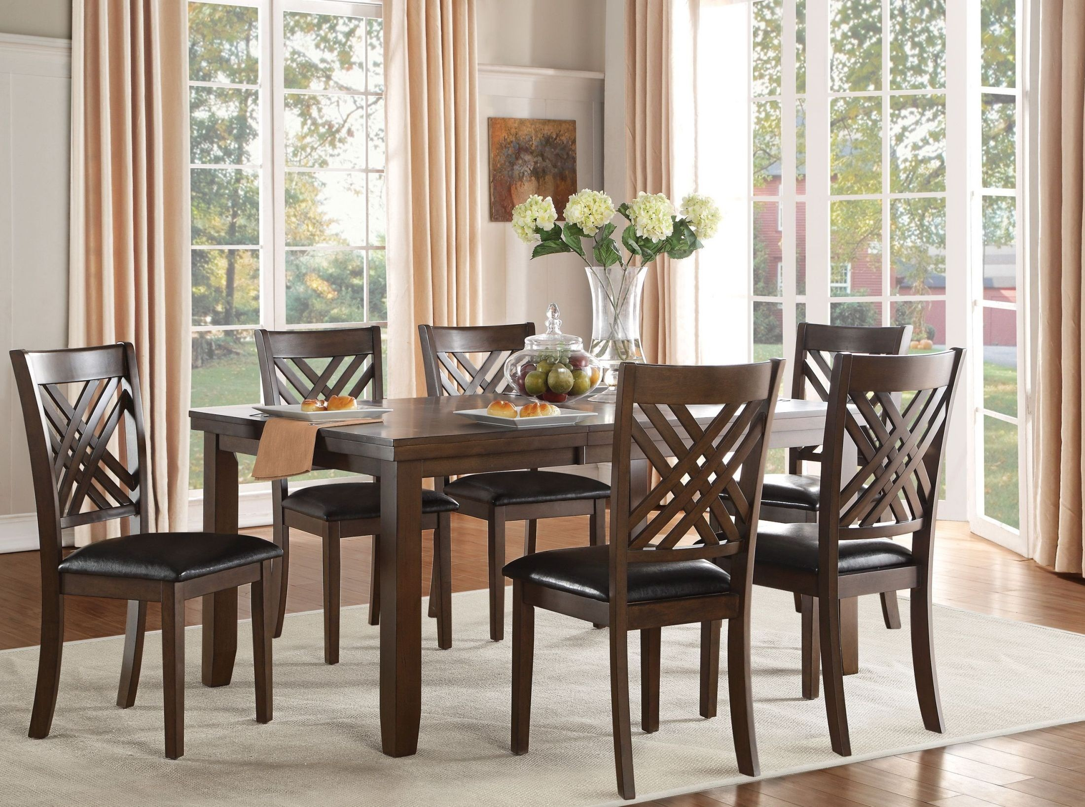 Sandia Black Rectangular Extendable Dining Room Set 5467 66 Homelegance