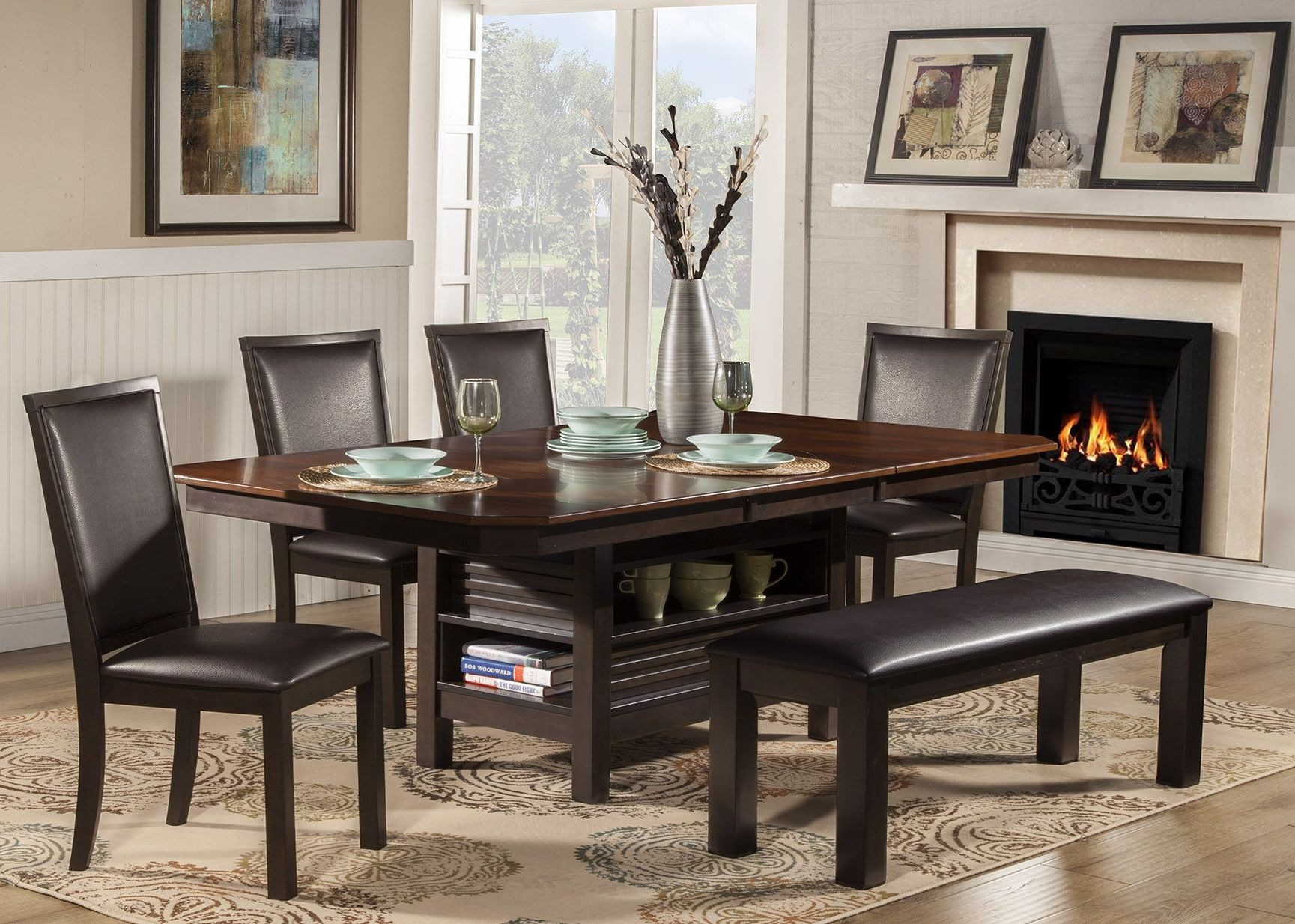 Davenport Espresso Extendable Dining Room Set 1306840 Alpine