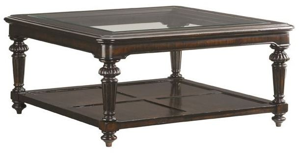 Island traditions windsor sheffield square cocktail table for Enchanting tommy bahama coffee table design