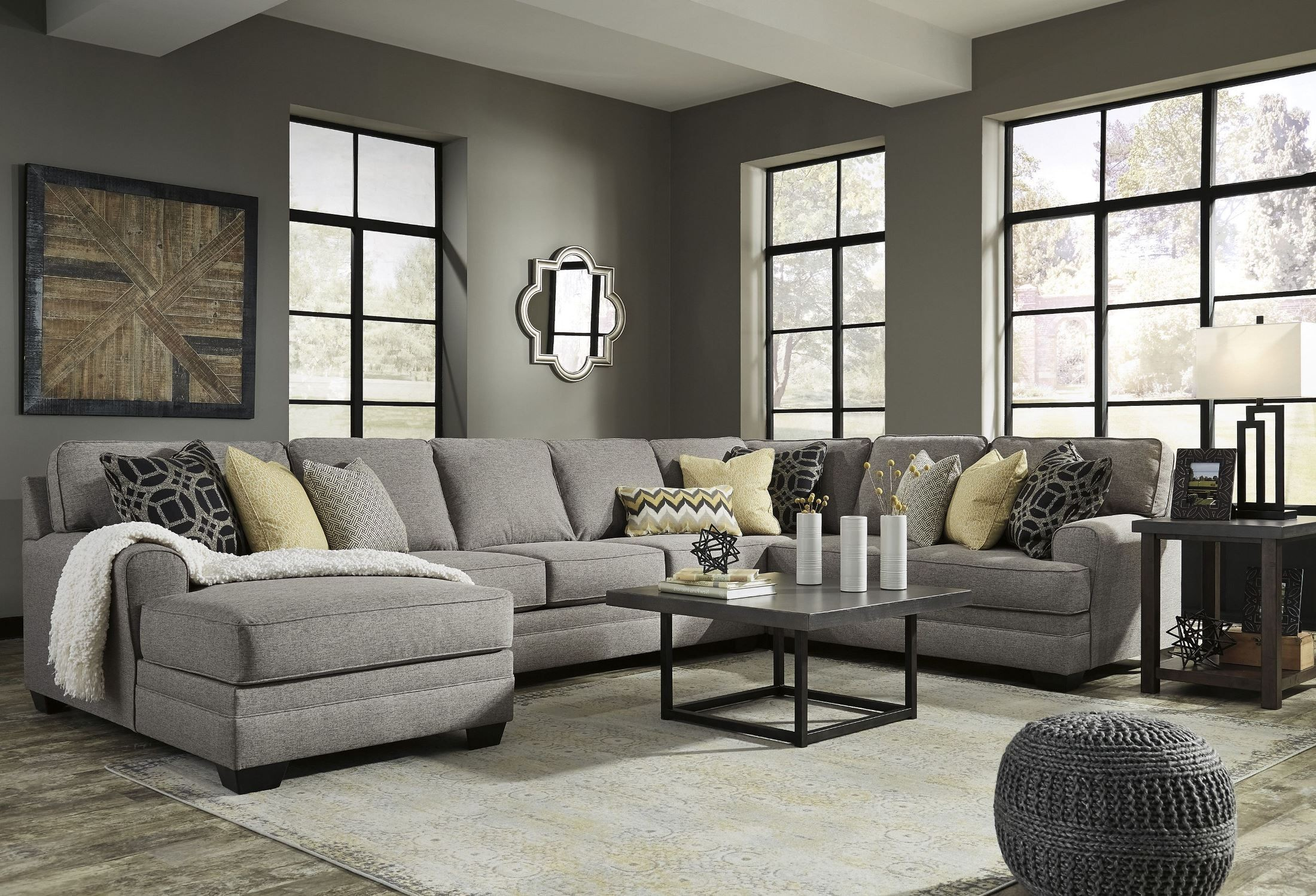 Cresson Pewter LAF Large Chaise Sectional, 54907-SEC4, Ashley
