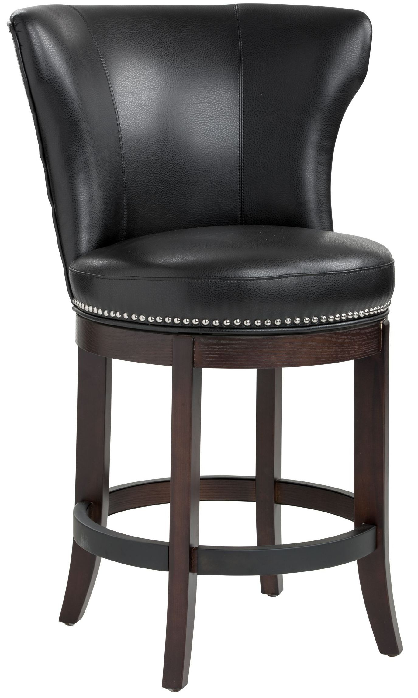 Leather Bar Stools ~ Tavern black leather swivel counter stool sunpan