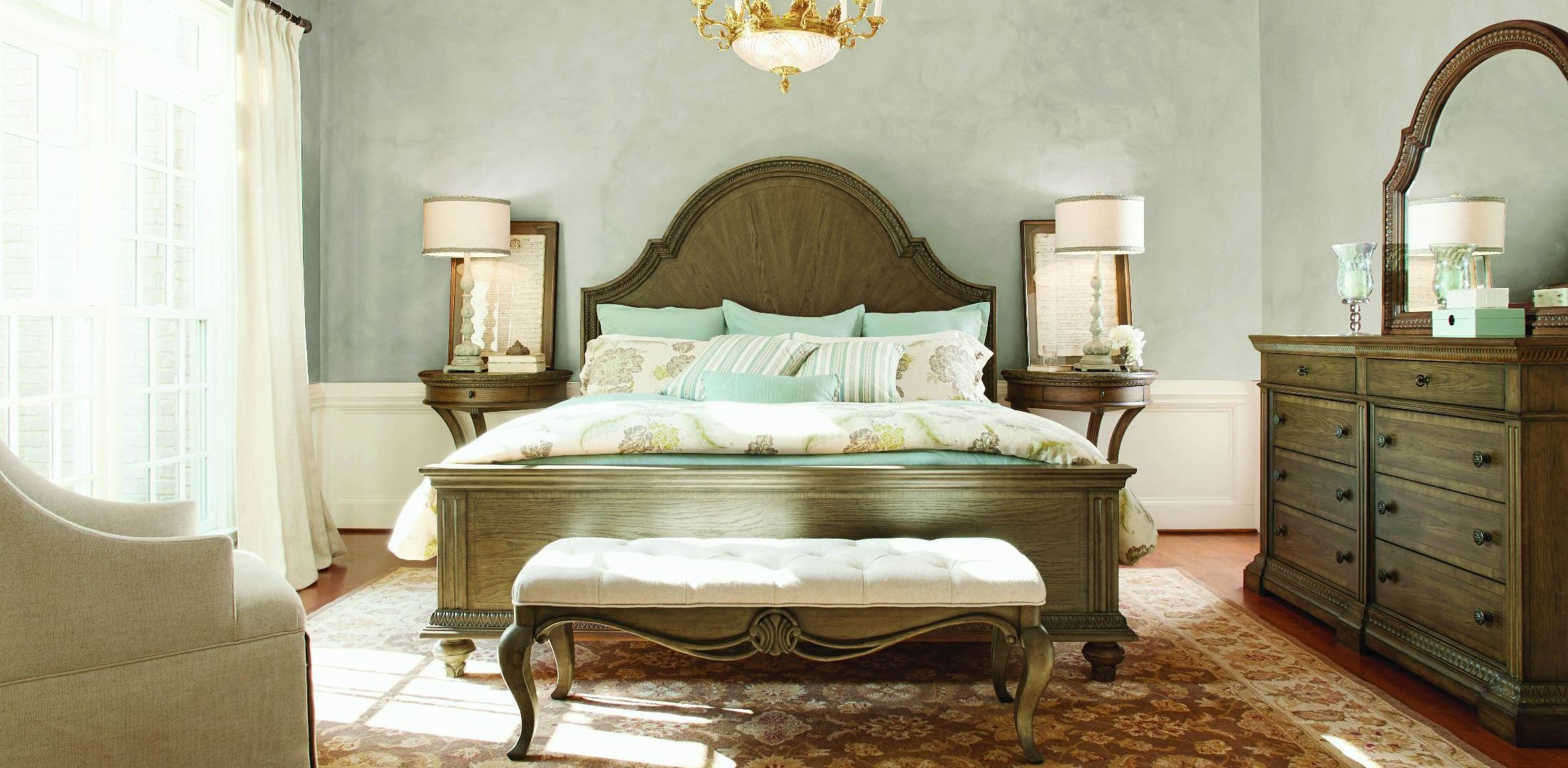 Renaissance Waxed Oak Arched Panel Bedroom Set From Legacy