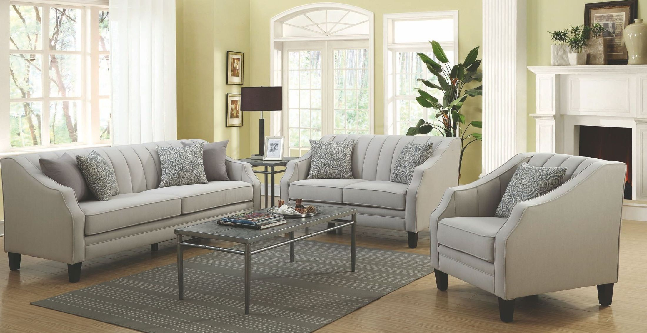 Loxley grey living room set 551141 coaster furniture for Grey front room furniture