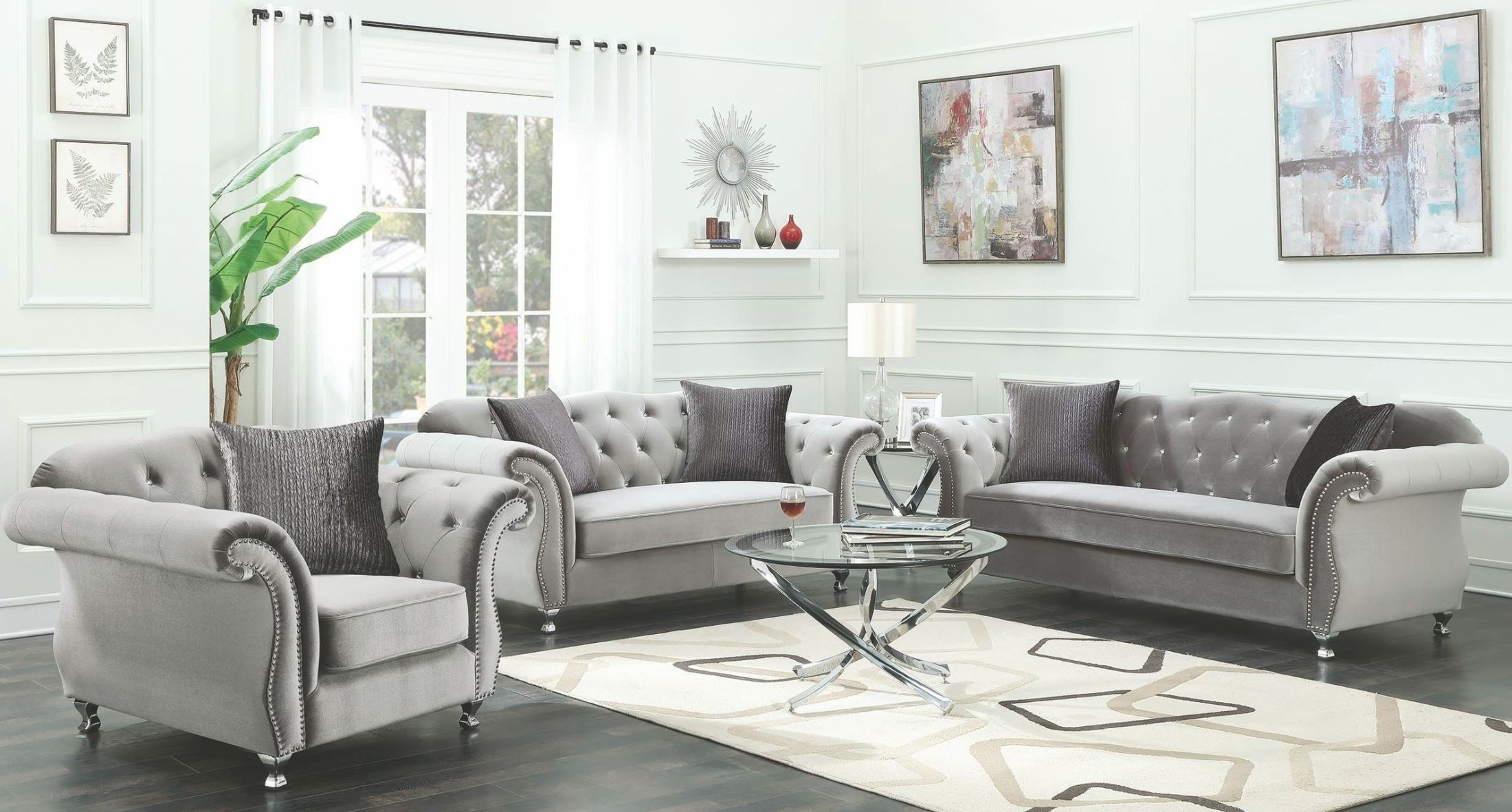 Frostine silver living room set 551161 coaster furniture for Cloud lounge and living room