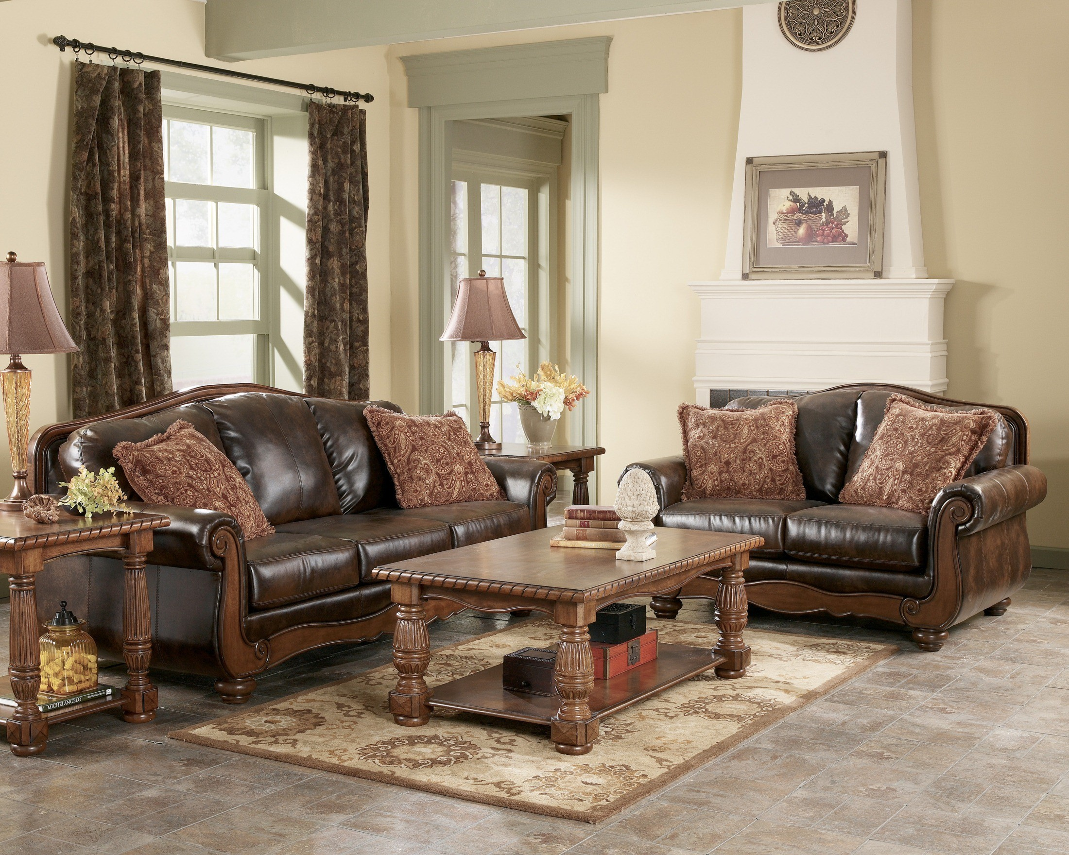Barcelona antique living room set from ashley 55300 - Antique living room furniture sets ...
