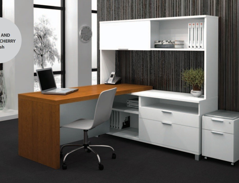 home pro linea l shaped desk with hutch kit in white cognac cherry