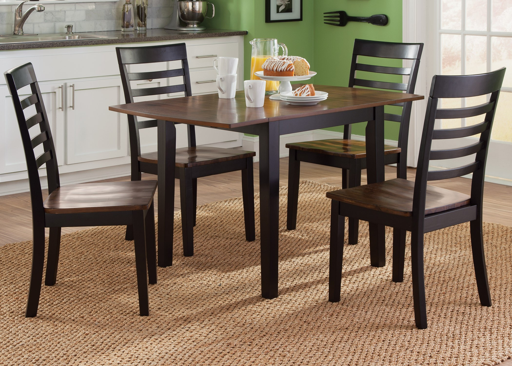 Cafe black and cherry drop leaf dining room set 56 t3048 for Cherry dining room set