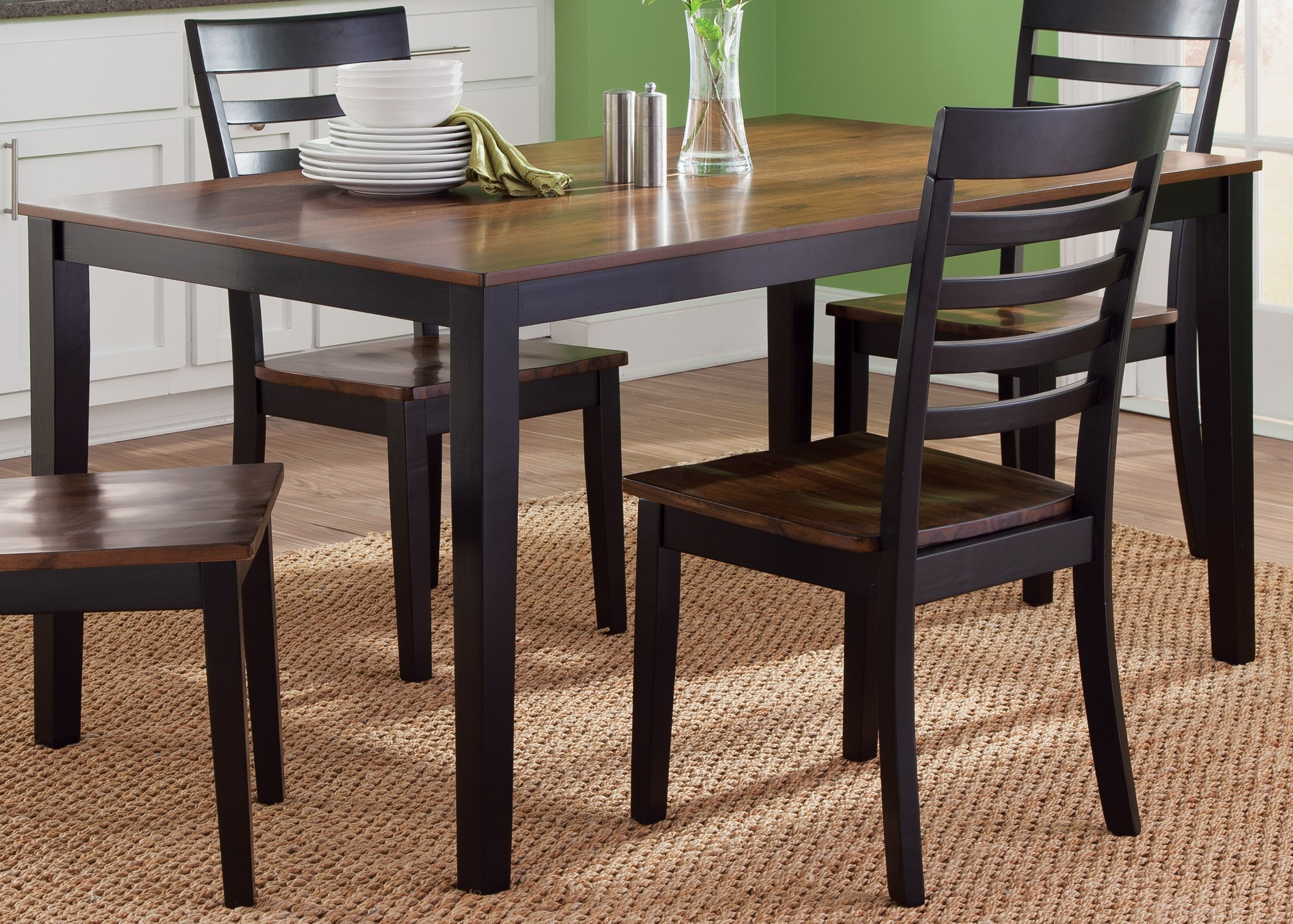 cafe black and cherry rectangular leg dining room set 56 t3660 liberty. Black Bedroom Furniture Sets. Home Design Ideas