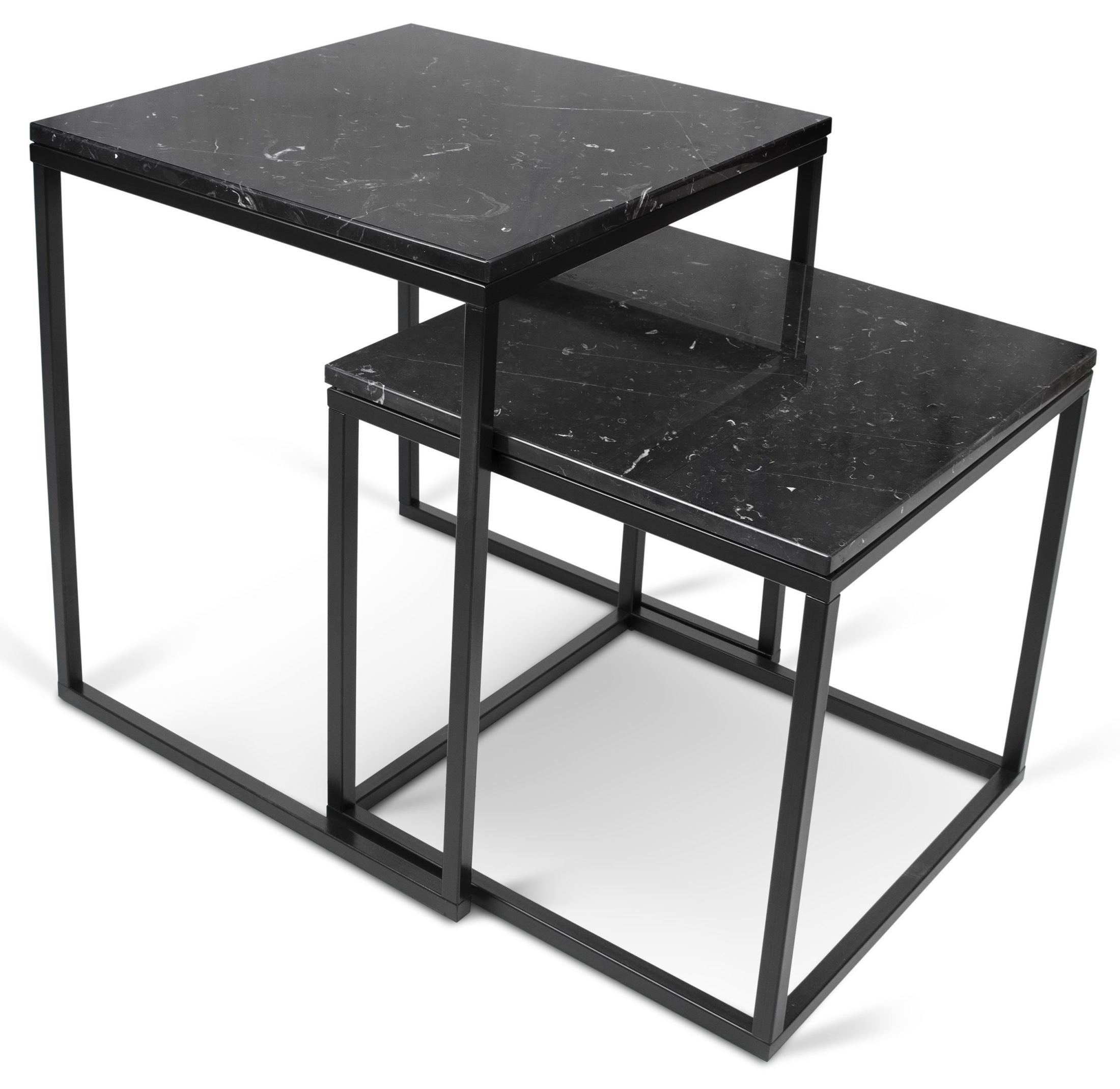 Prairie Black Marble Top Lacquered Steel Nesting Tables 9500.312526 . Full resolution  portraiture, nominally Width 2200 Height 2140 pixels, portraiture with #535757.