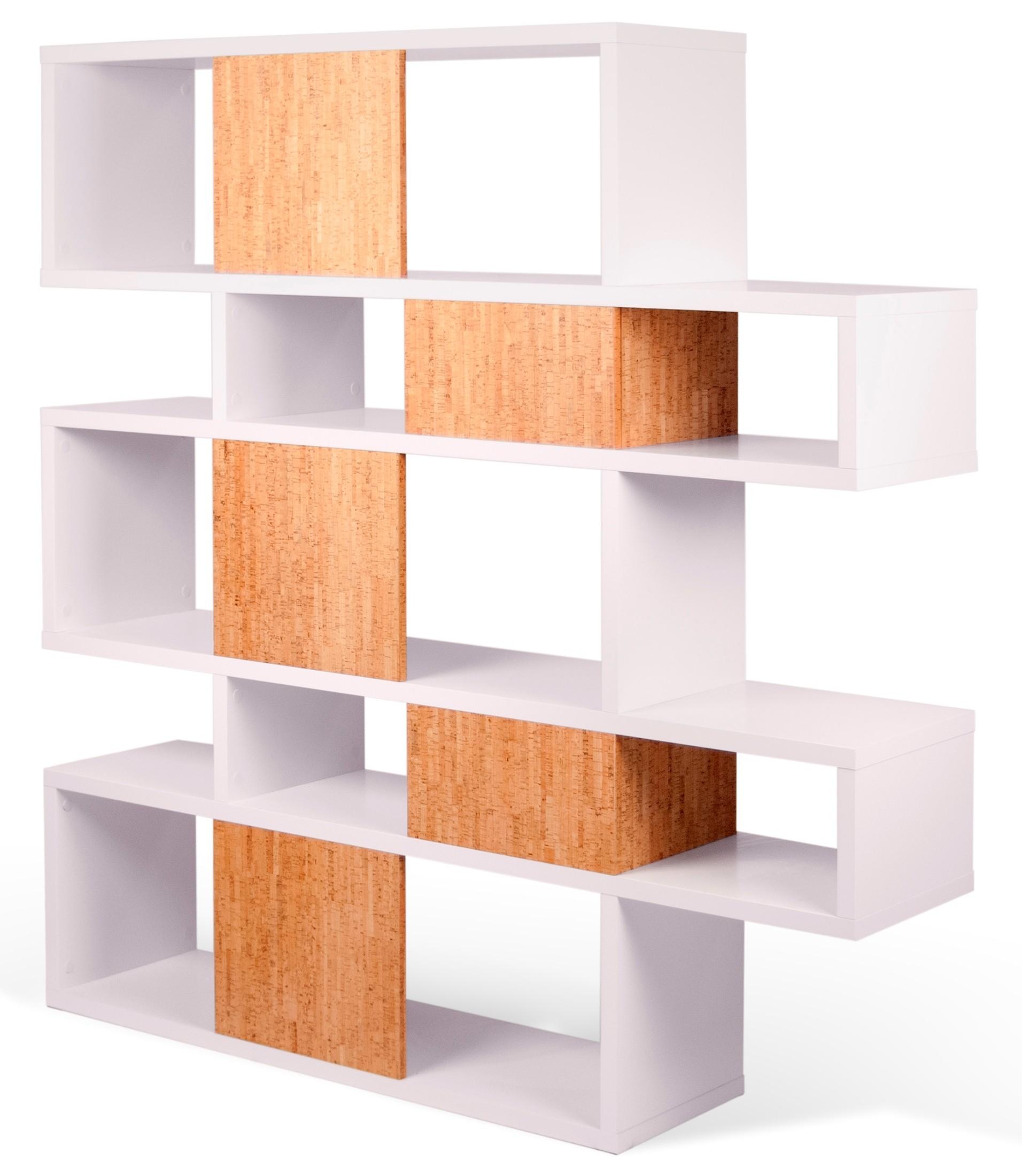 London Pure White Frame With Cork Backs 10 Shelf Bookcase
