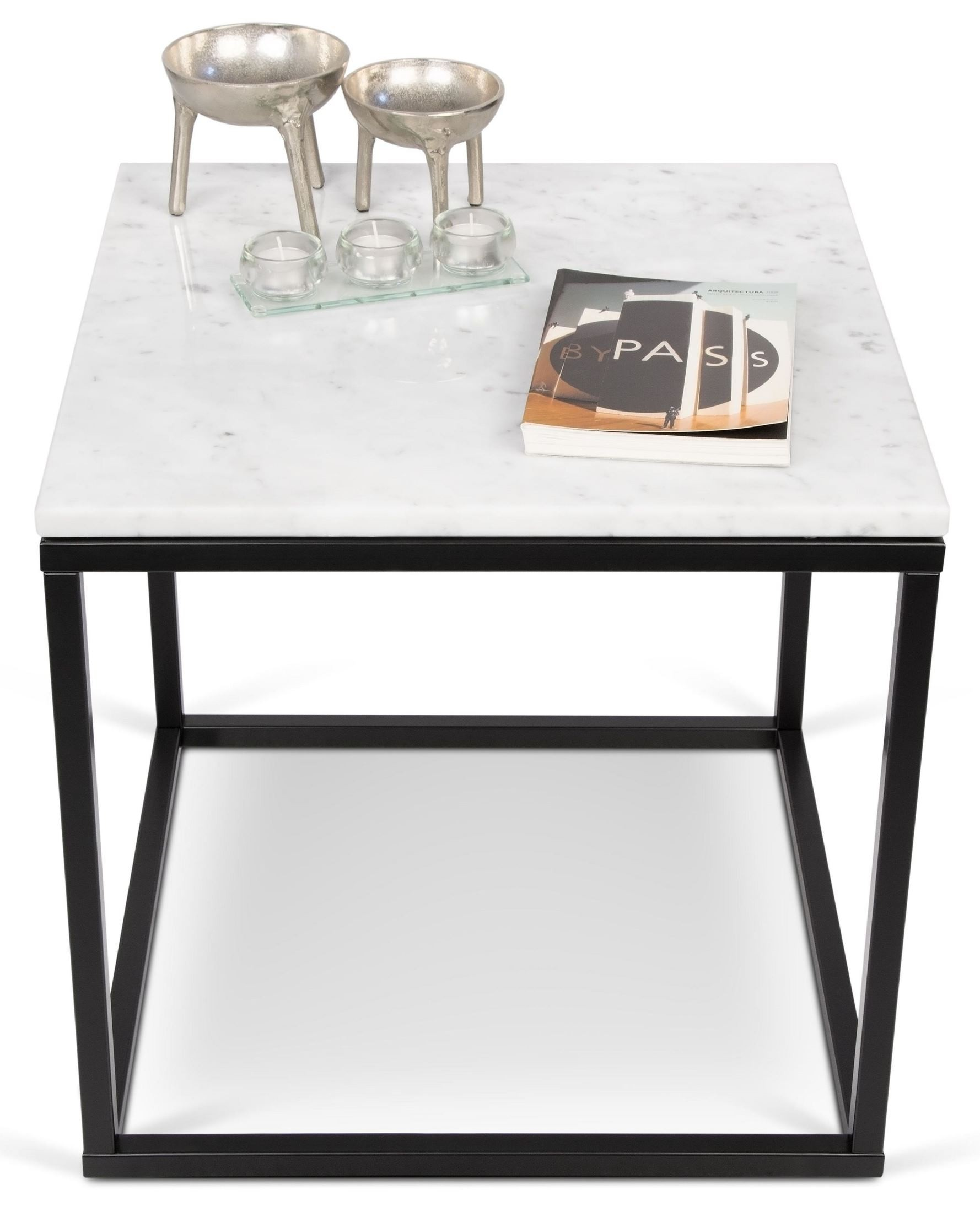 Prairie White Marble Top Black Lacquered Steel End Table
