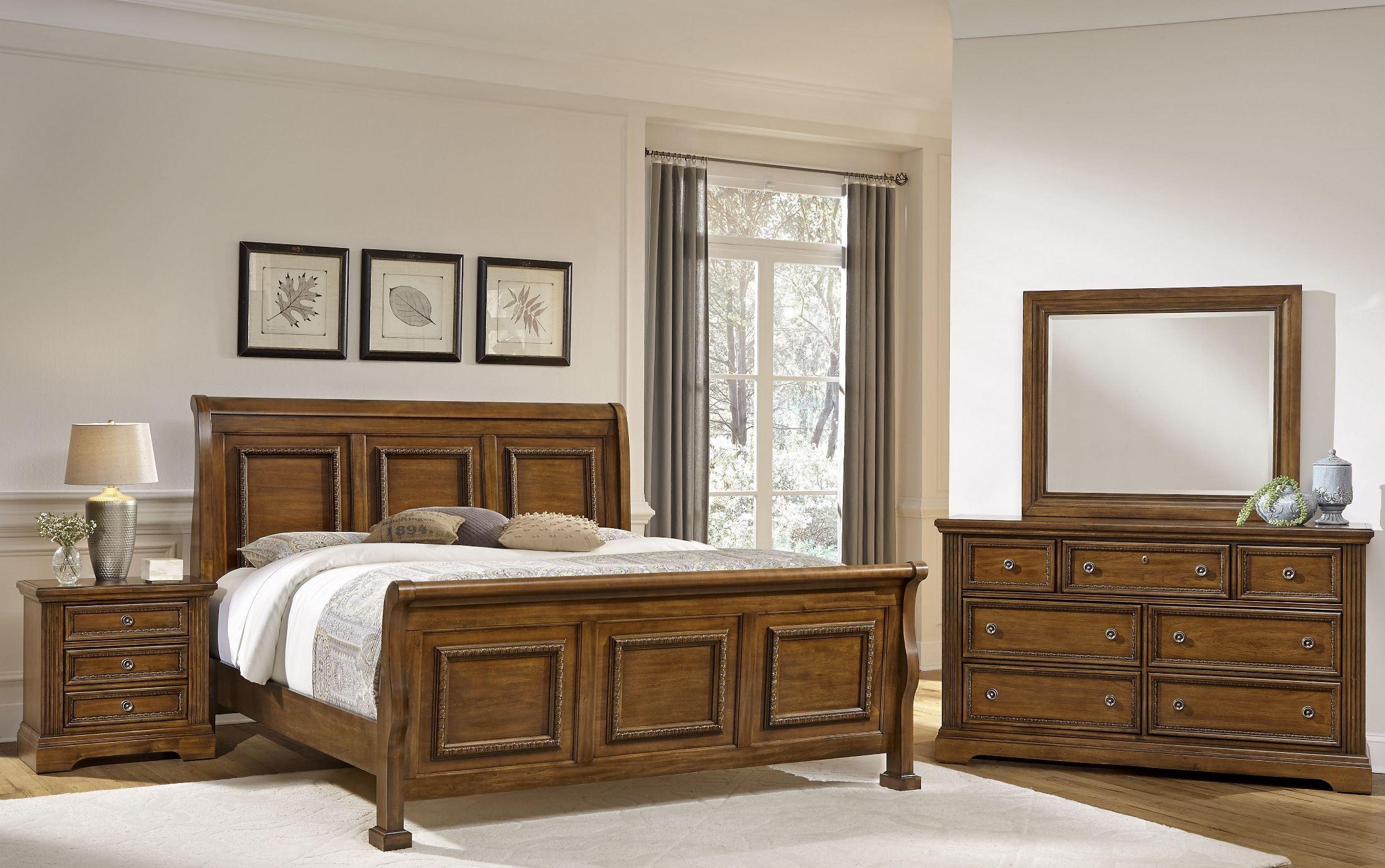 Affinity Antique Cherry Sleigh Bedroom Set 562 553 355 722 Vaughan Bassett
