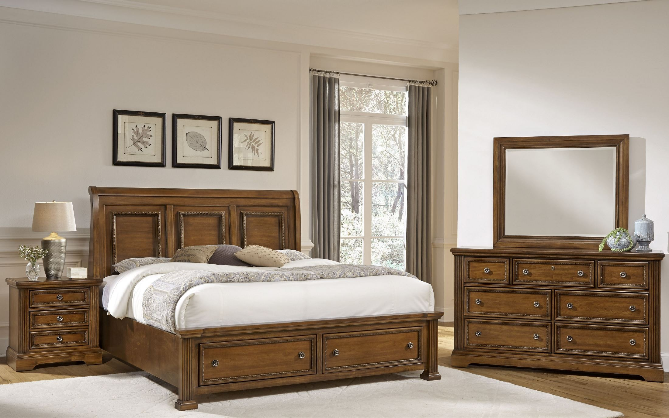 Affinity Antique Cherry Sleigh Storage Bedroom Set 562 553 050b 502 555t Vaughan Bassett