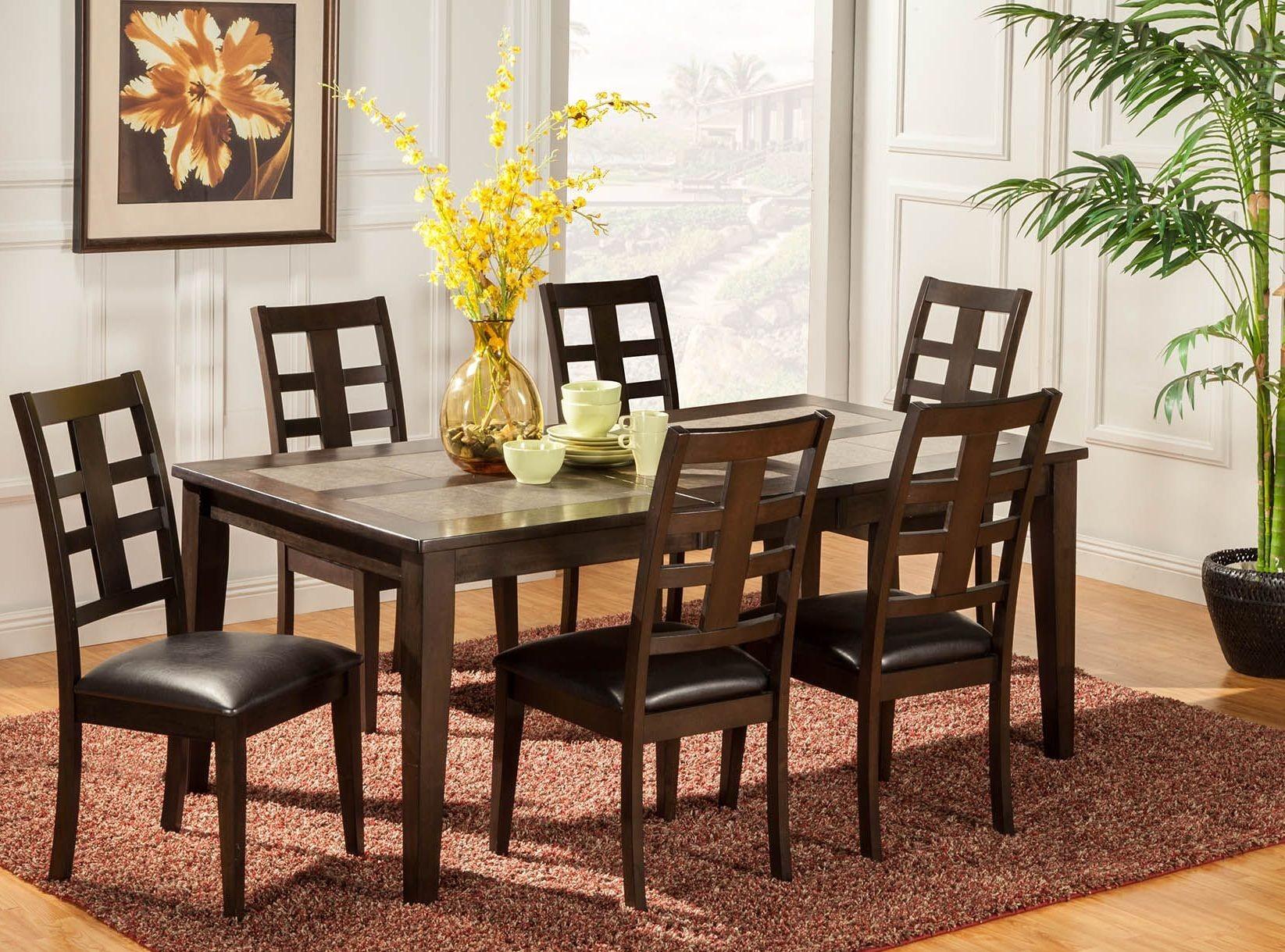 piedmont walnut tile top dining room set 566 01 alpine