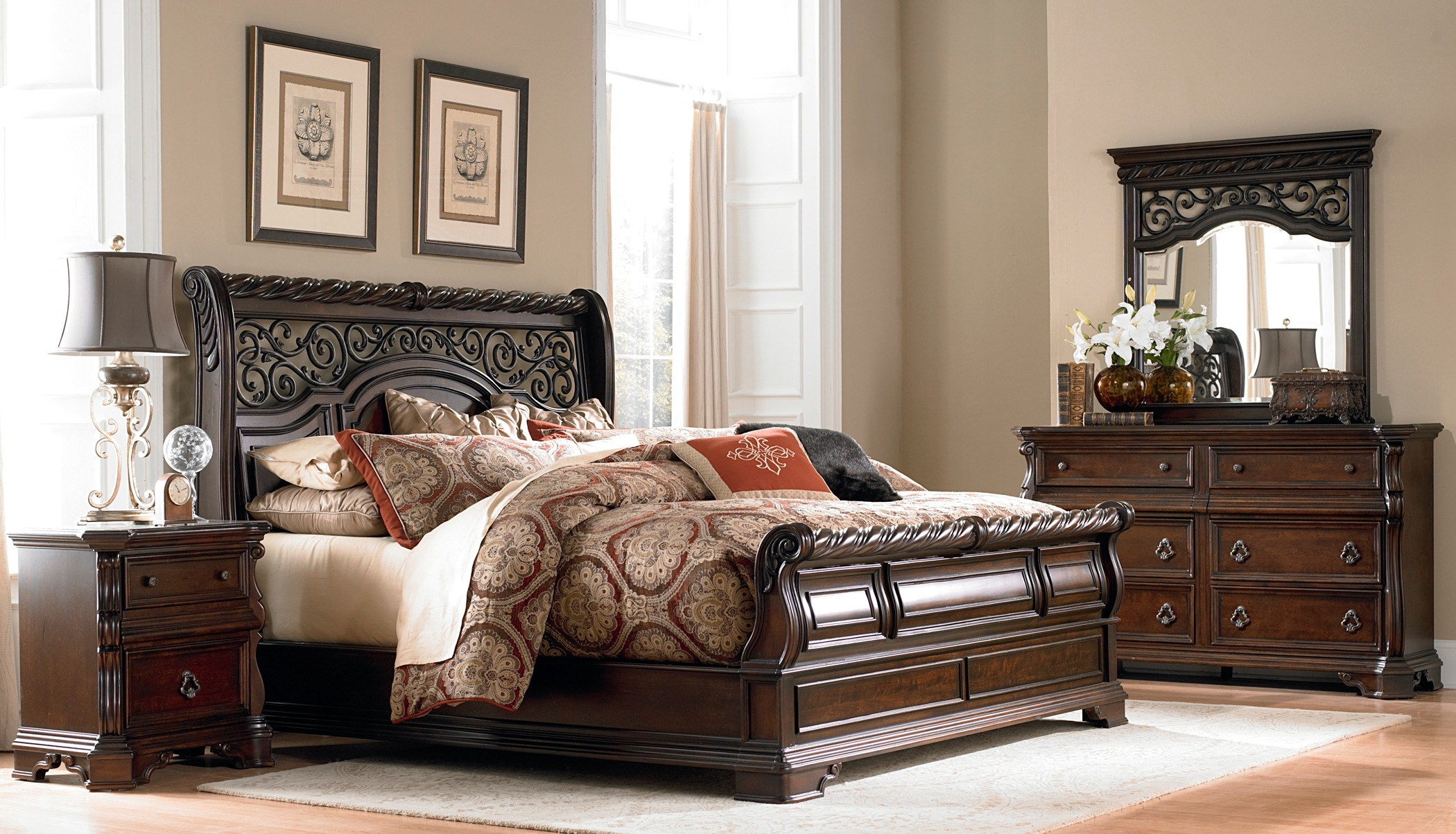 Arbor place sleigh bedroom set from liberty 575 br qsl for Places to get bedroom sets